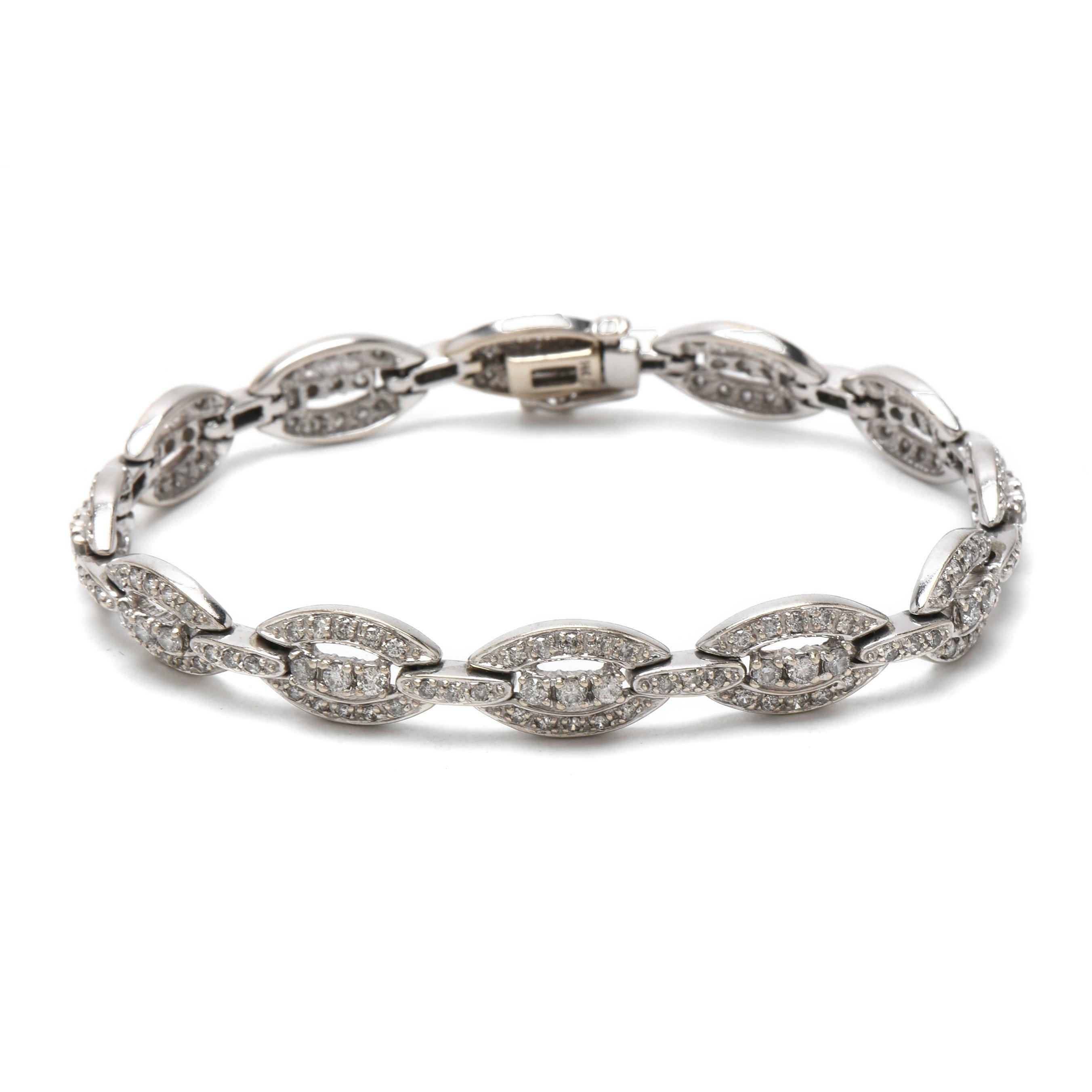 14K White Gold 3.07 CTW Diamond Oval Link Bracelet