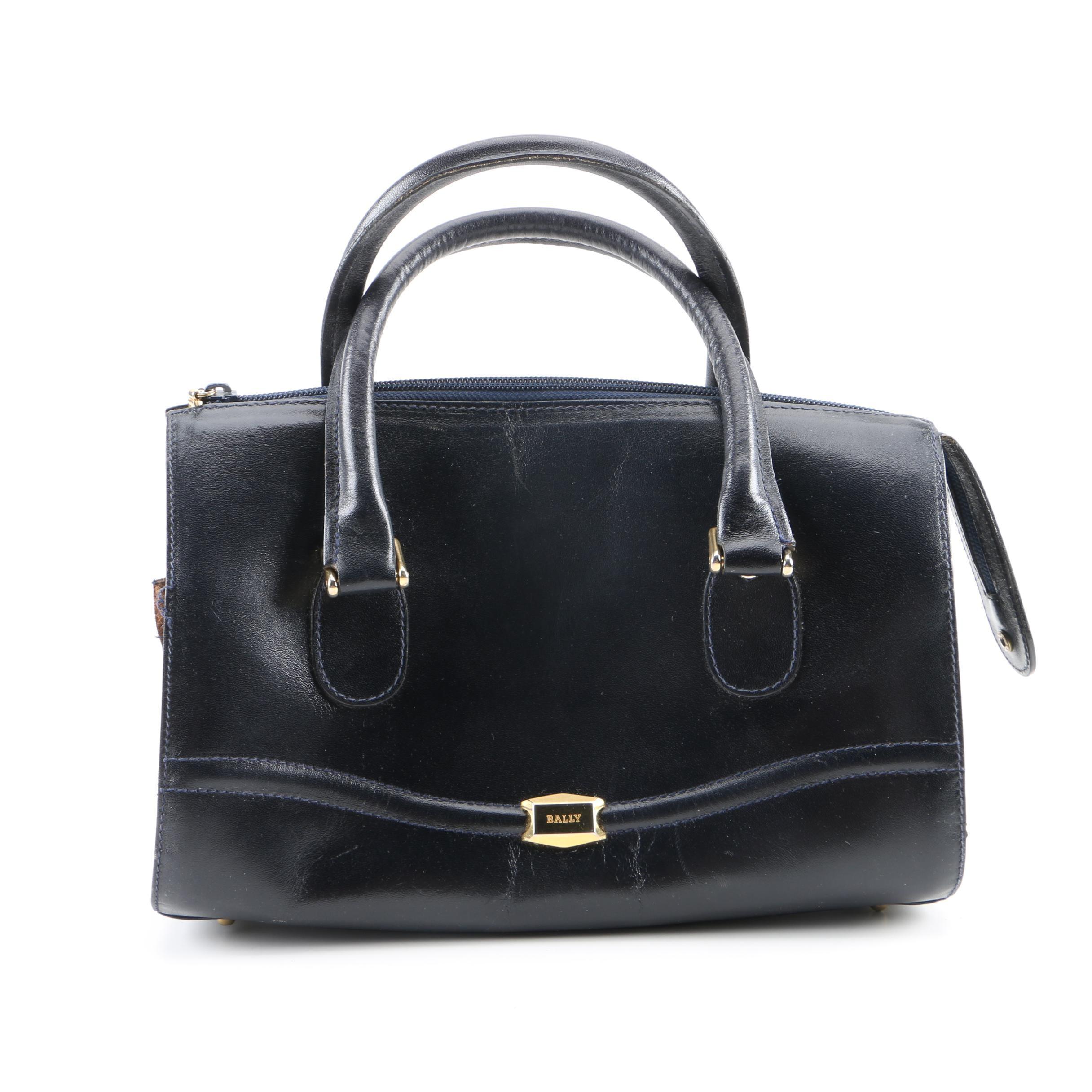 Bally Navy Blue Leather Barrel Bag