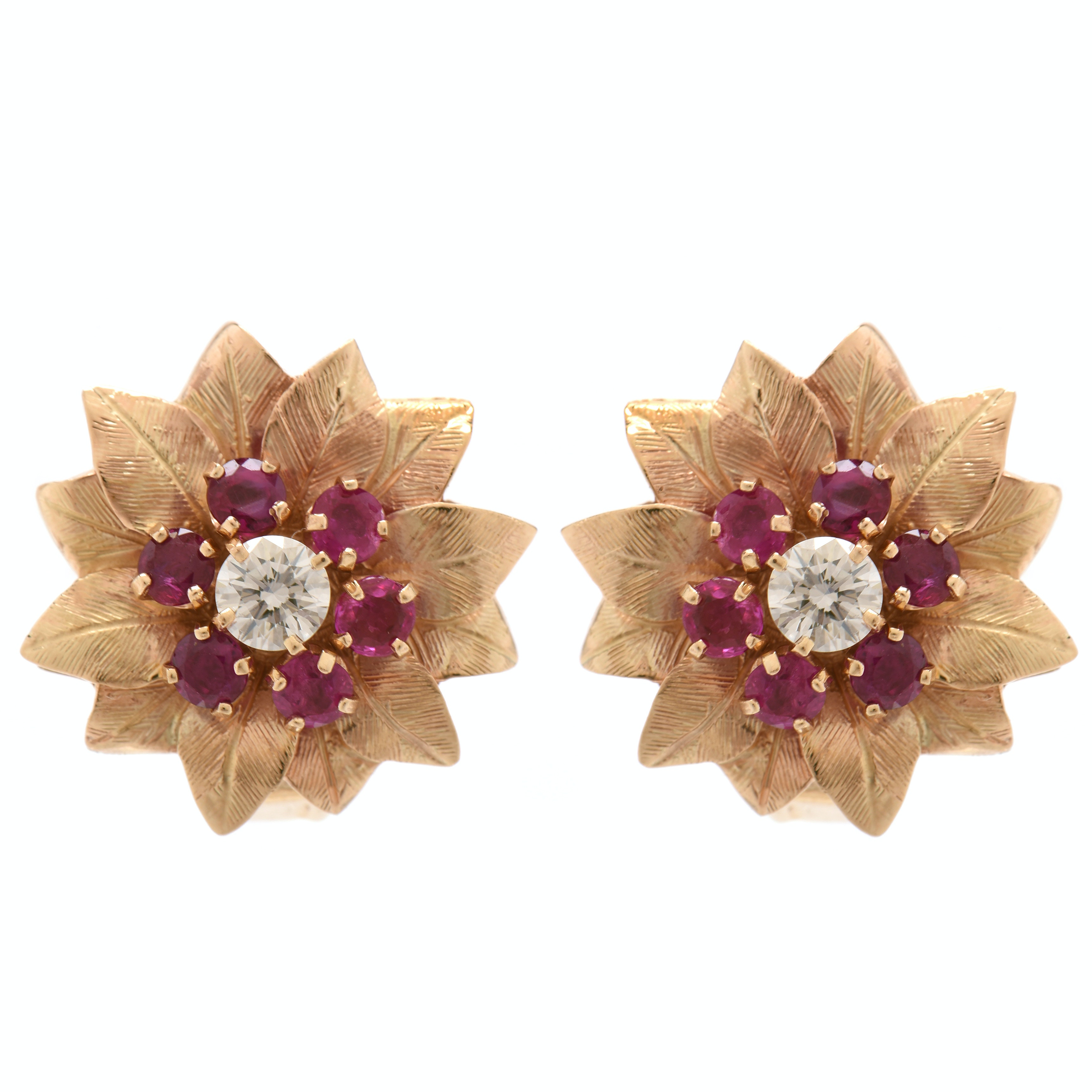 Vintage 14K Yellow Gold Diamond and Unheated Ruby Floral Earrings