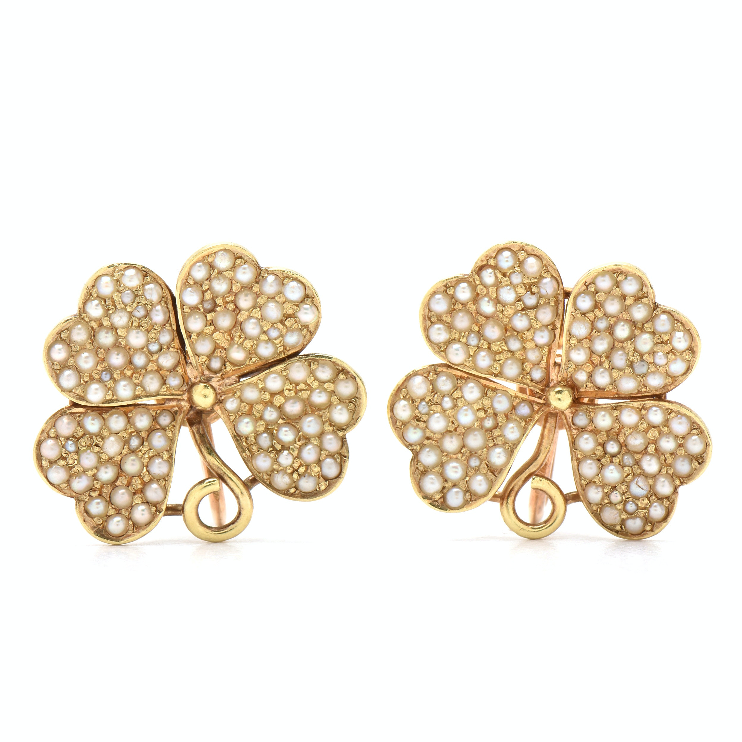 Edwardian Sloan & Co 14K Yellow Gold Seed Pearl Four-Leaf Clover Earring