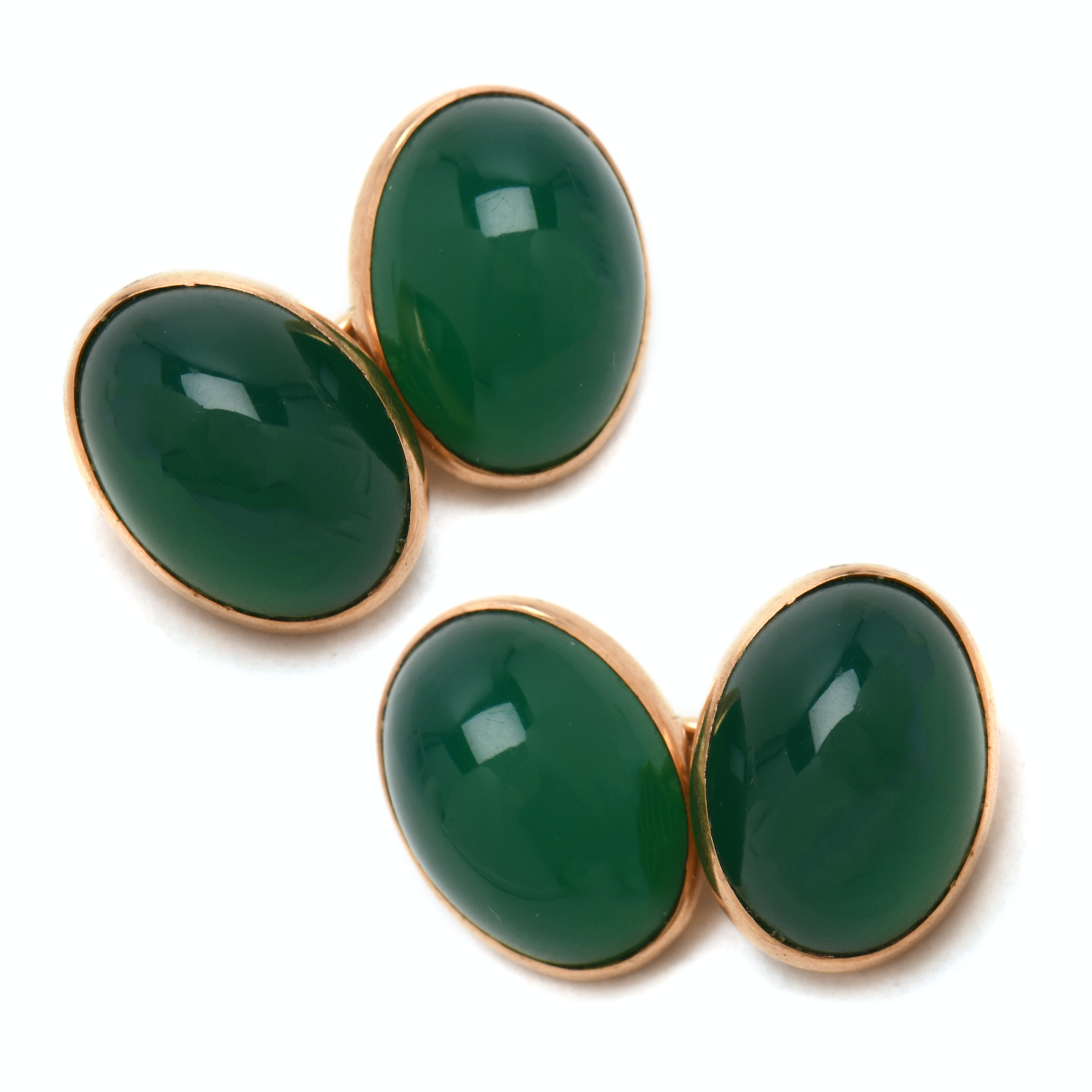 Antique 14K Yellow Gold Dyed Chalcedony Cufflinks