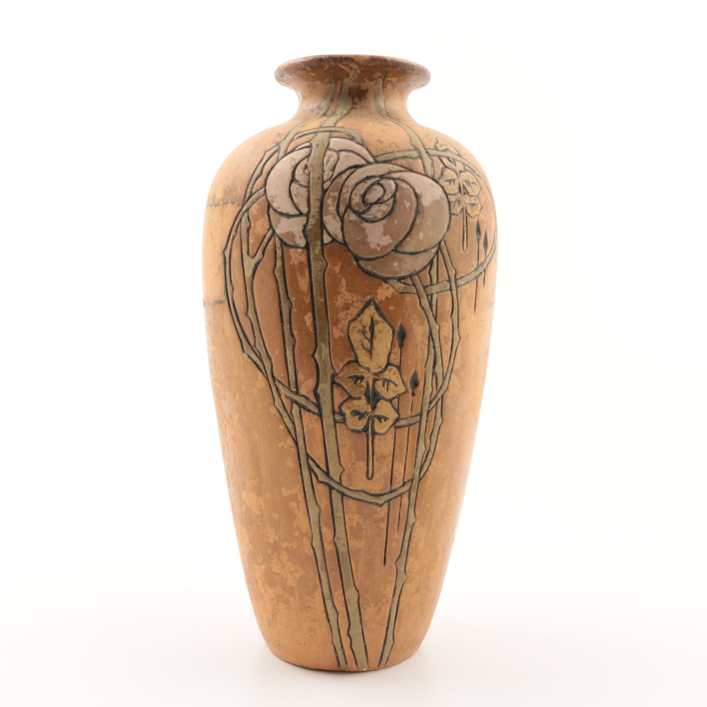 Early Weller Pottery Etched Matte Vase with Incised Floral Pattern