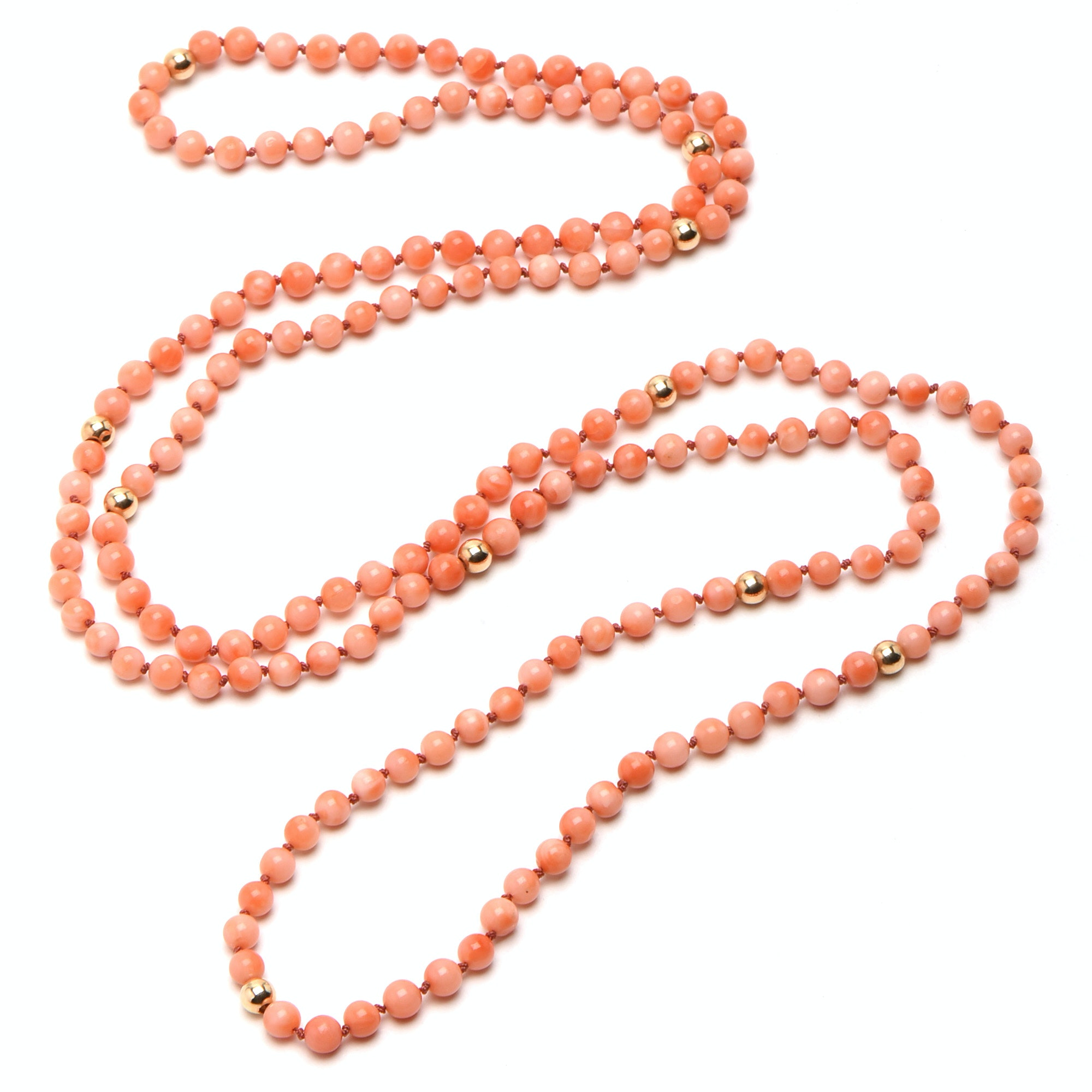 14K Yellow Gold and Coral Beaded Necklace