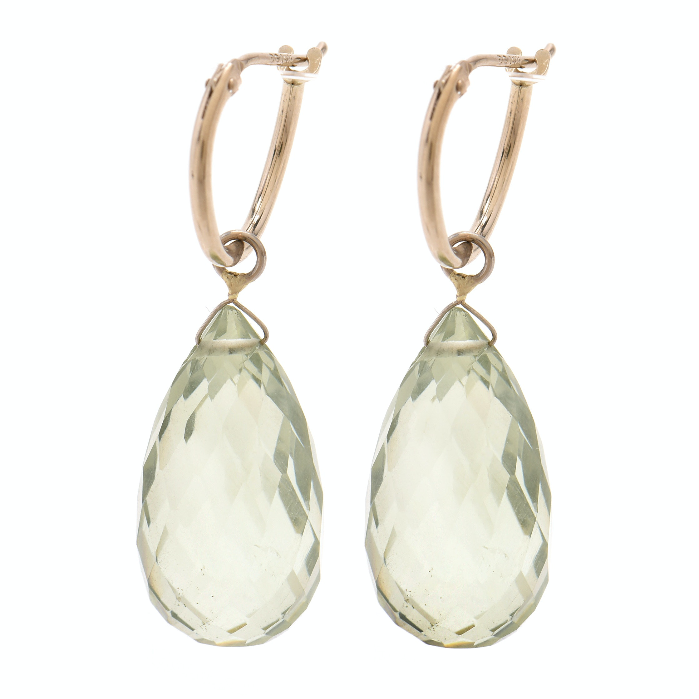 14K Yellow Gold Praseolite Drop Pierced Earrings