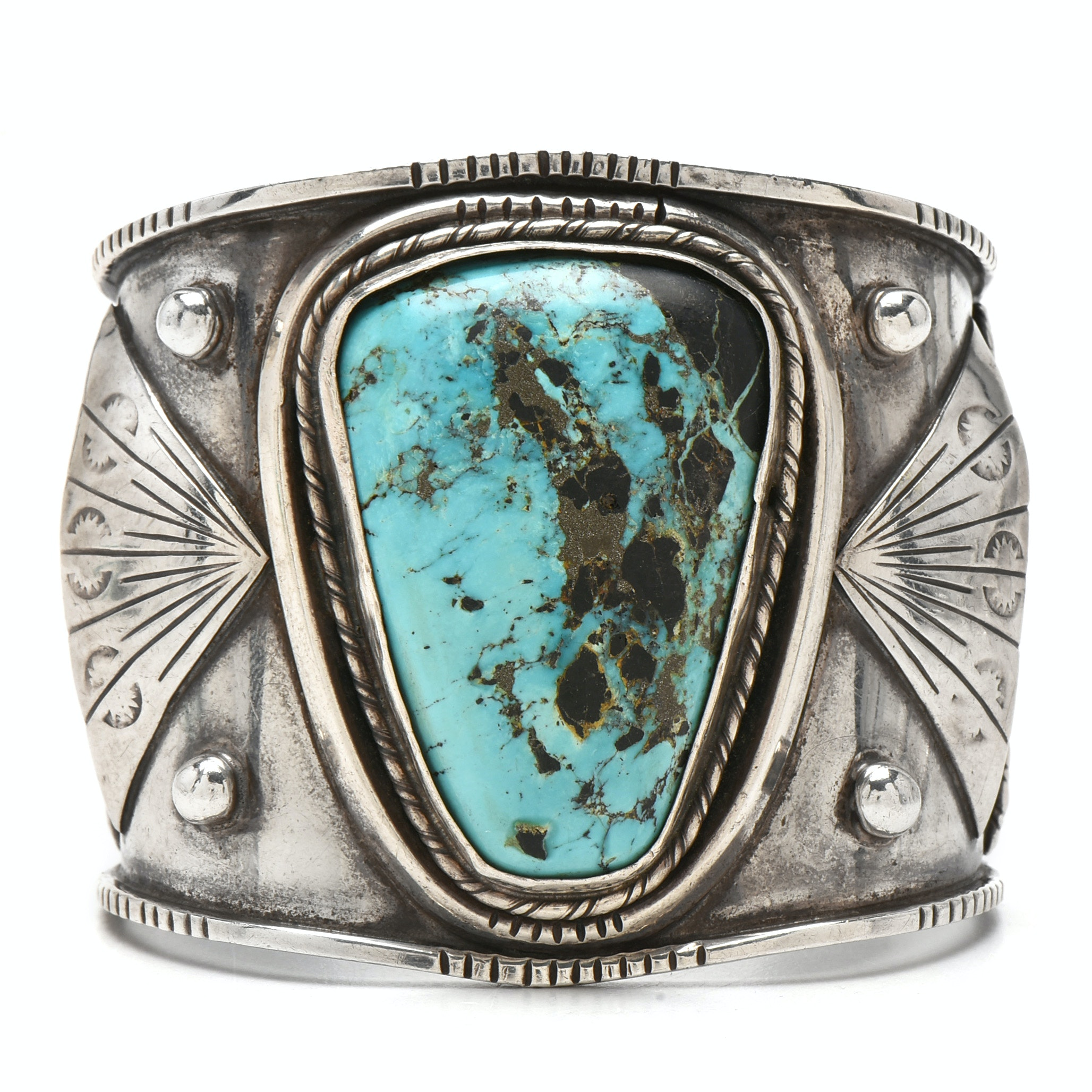 Fred Guerro Navajo Diné Sterling Silver Turquoise Wide Cuff Bracelet