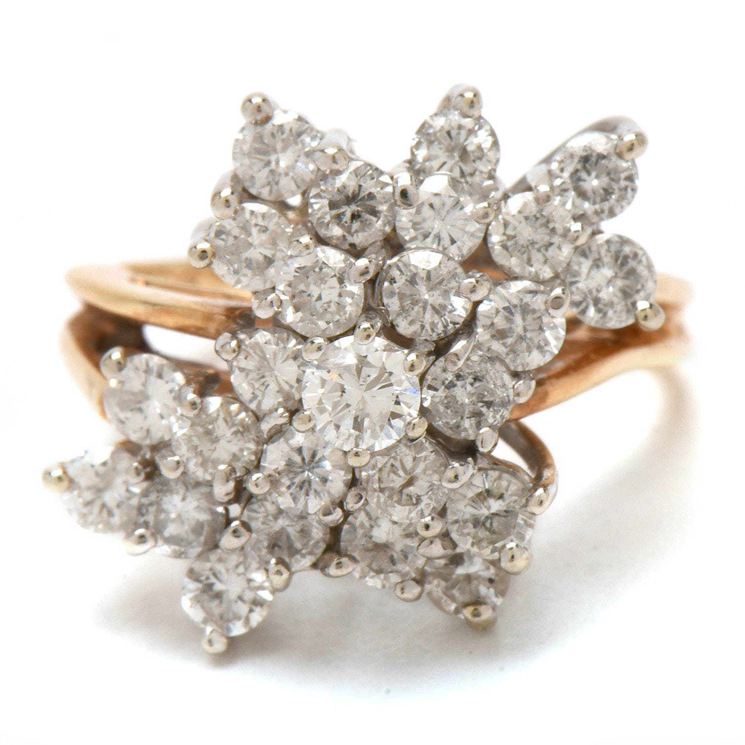 14K Yellow Gold 1.96 CTW Diamond Cluster Waterfall Ring