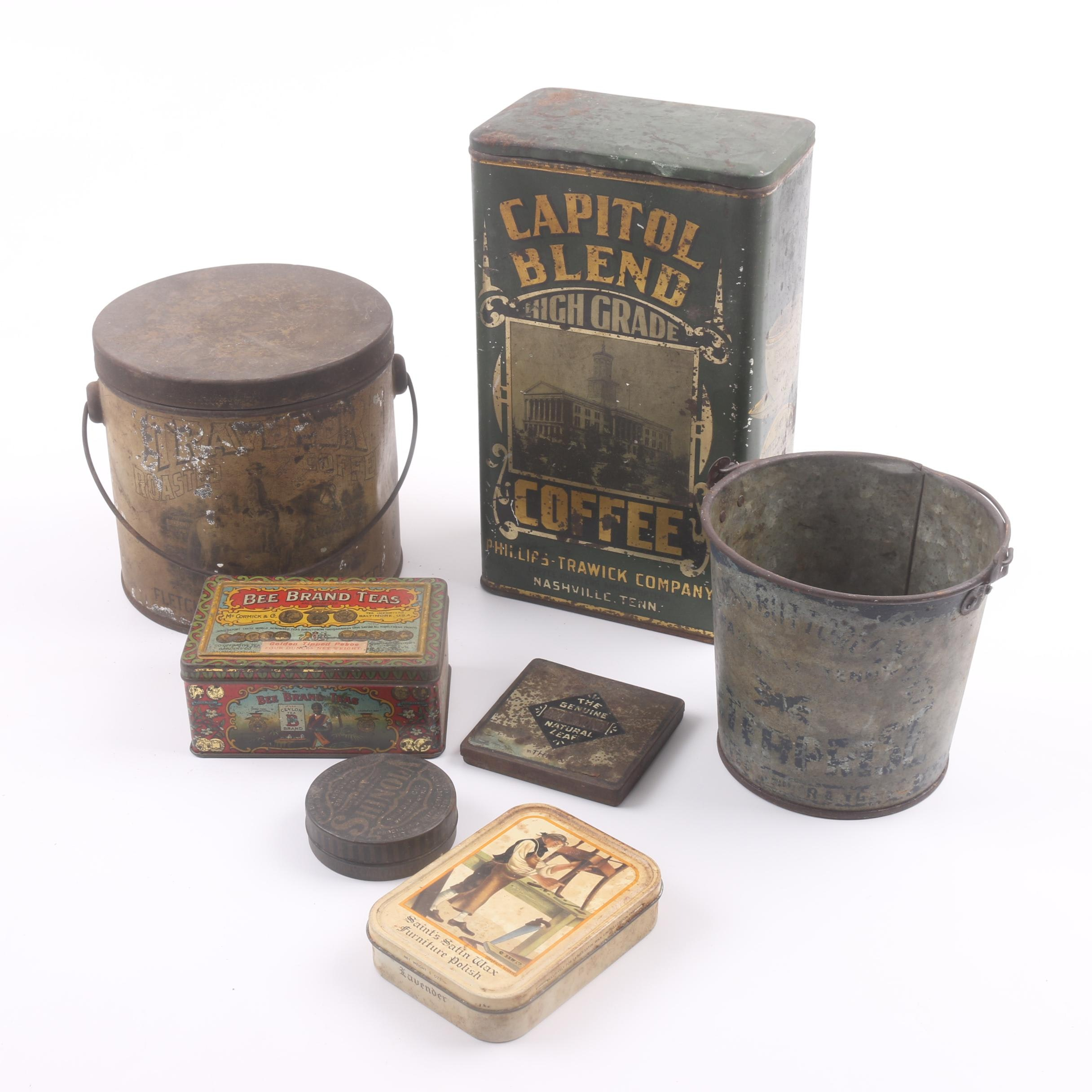 Vintage Coffee, Tea, Tobacco and Polish Tins and Containers