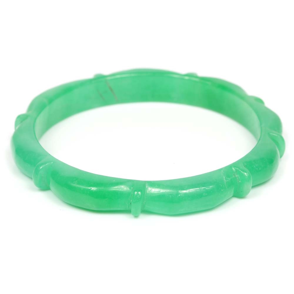 Carved Jadeite Bangle Bracelet