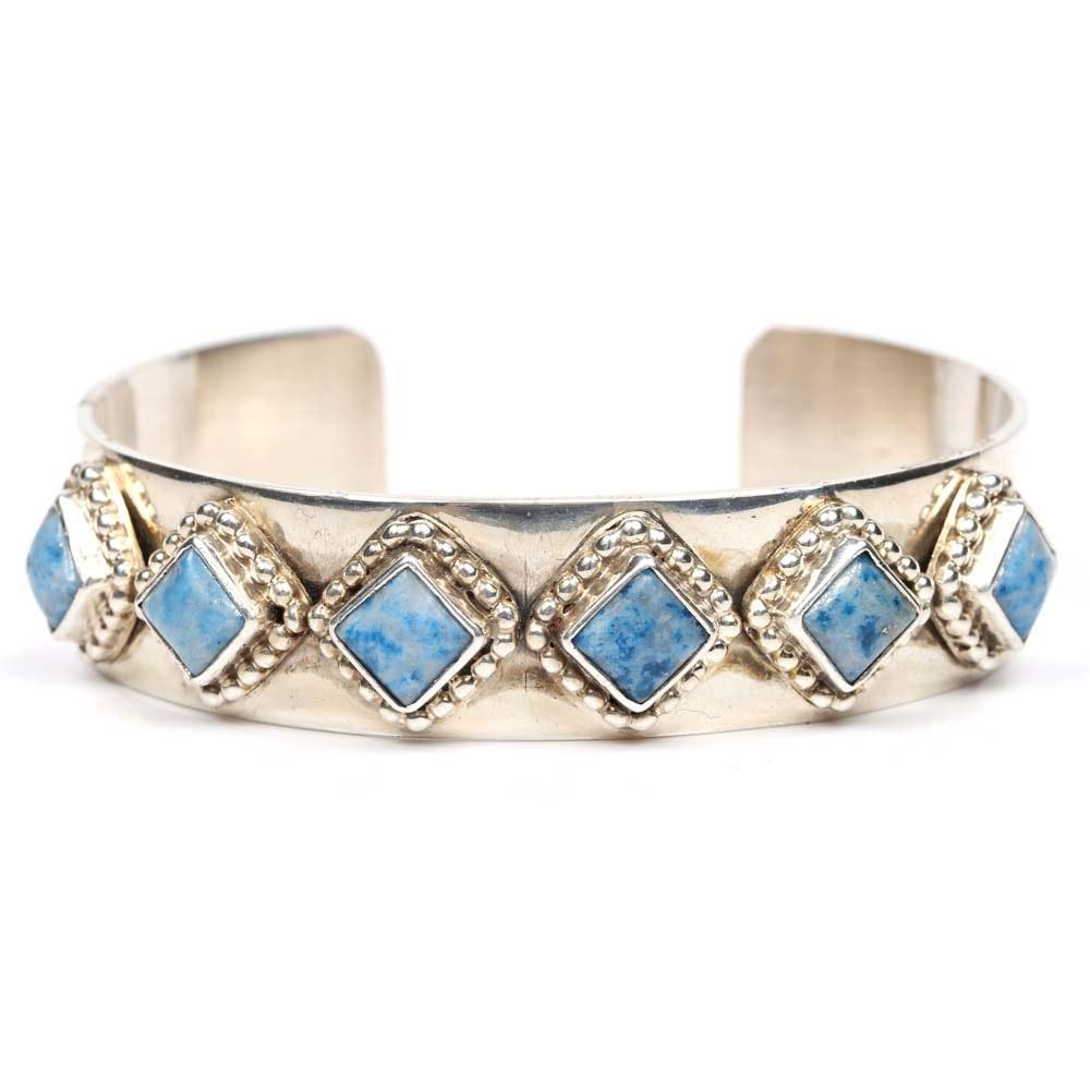 Oscar Alexius Sterling Silver Sodalite Cuff Bracelet
