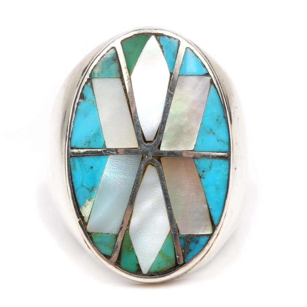 Sterling Silver Turquoise and Mother of Pearl Ring