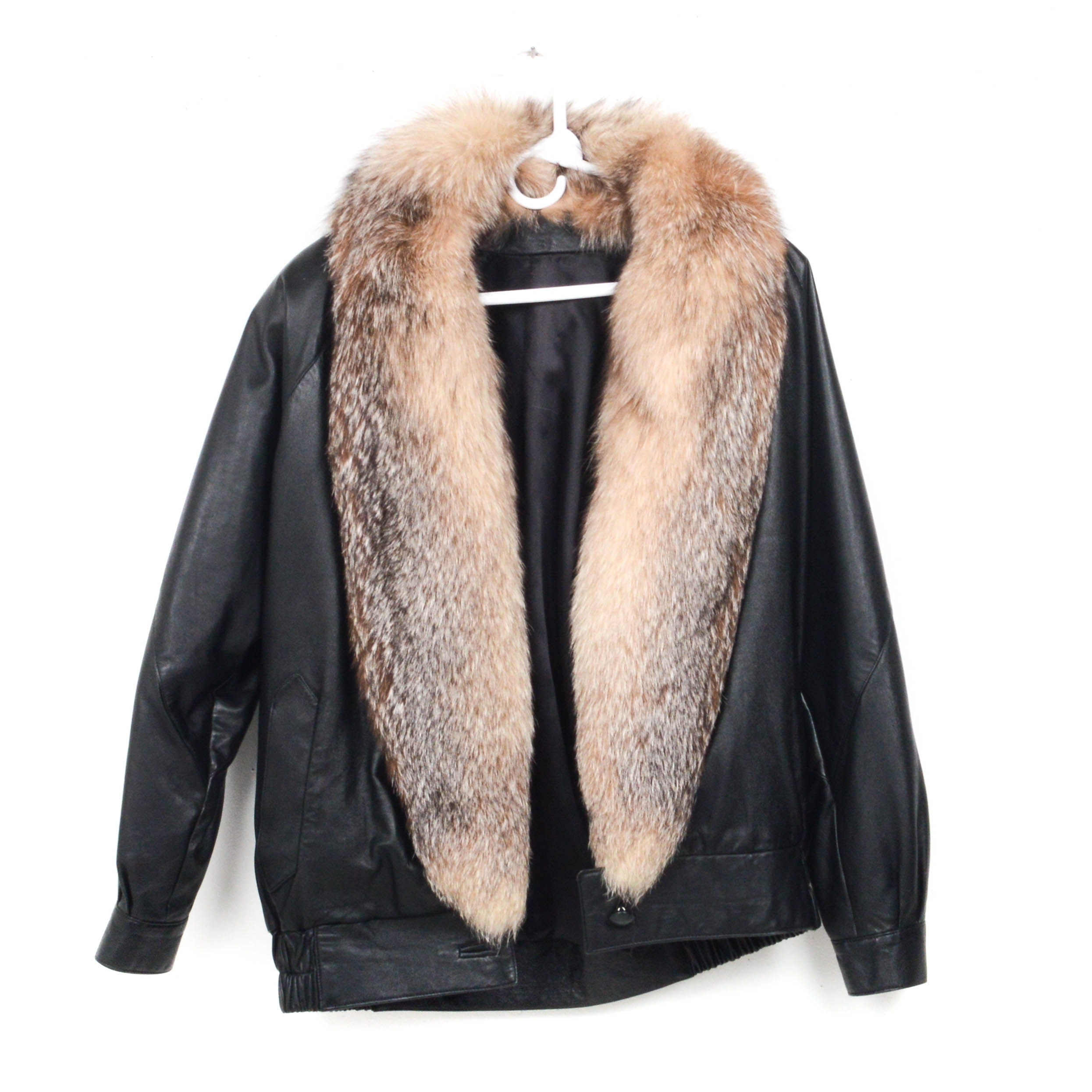 Black Leather Jacket With Crystal Fox Fur Collar