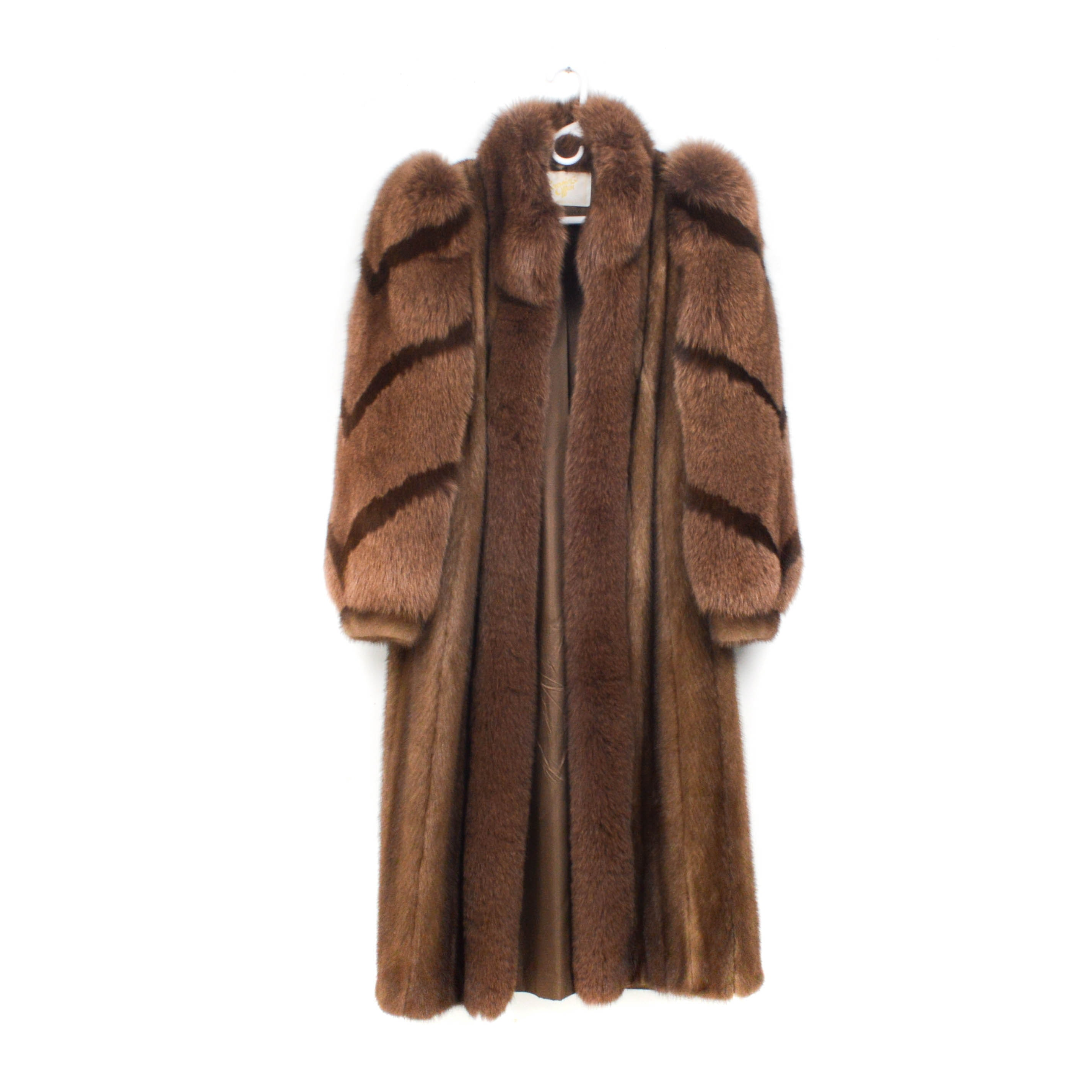 Ranch Mink Fur Full-Length Coat with Fox Fur Sleeves and Collar