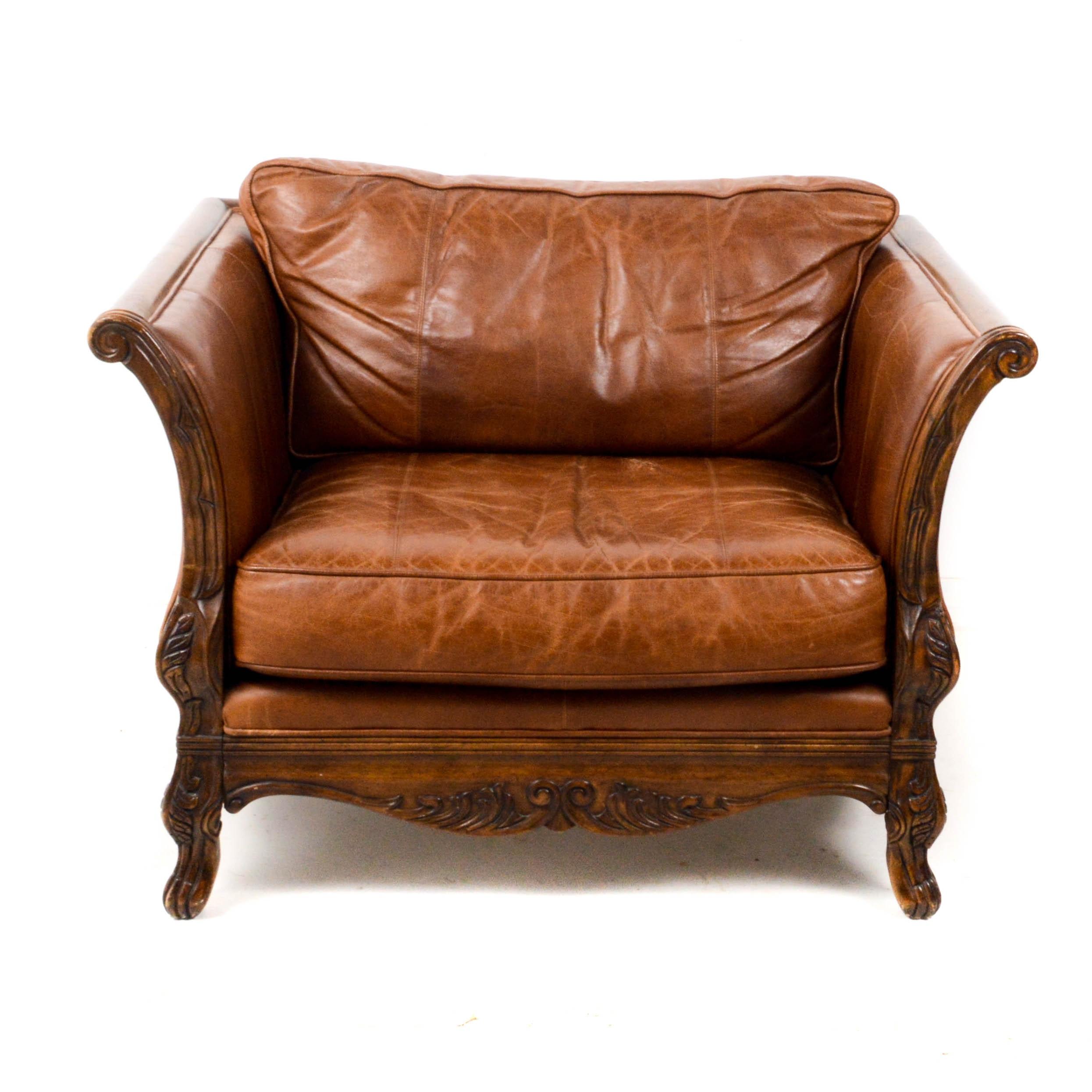 Bernhardt Leather and Oak Oversize Armchair