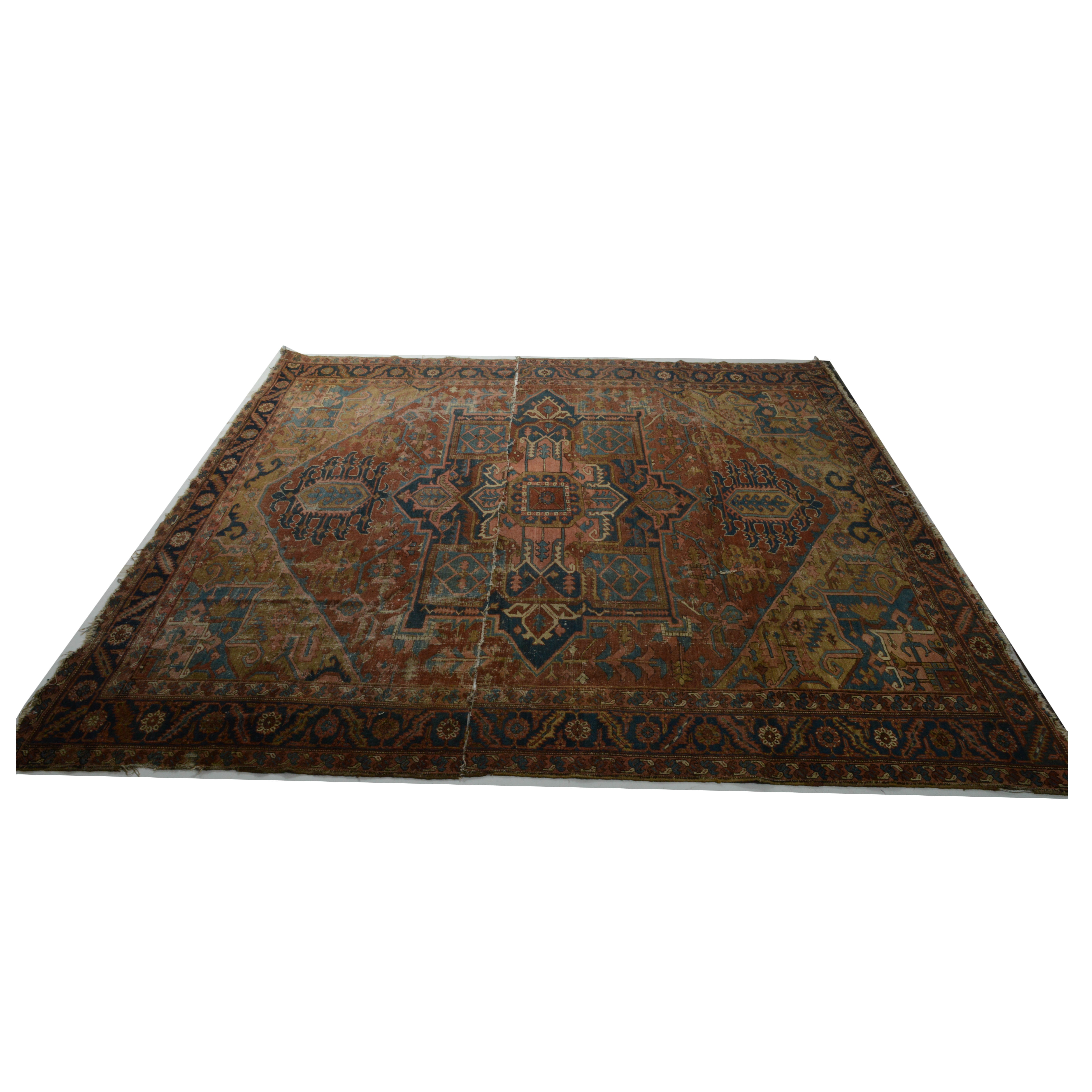Antique Hand Knotted Persian Heriz Room Size Rug Remnants