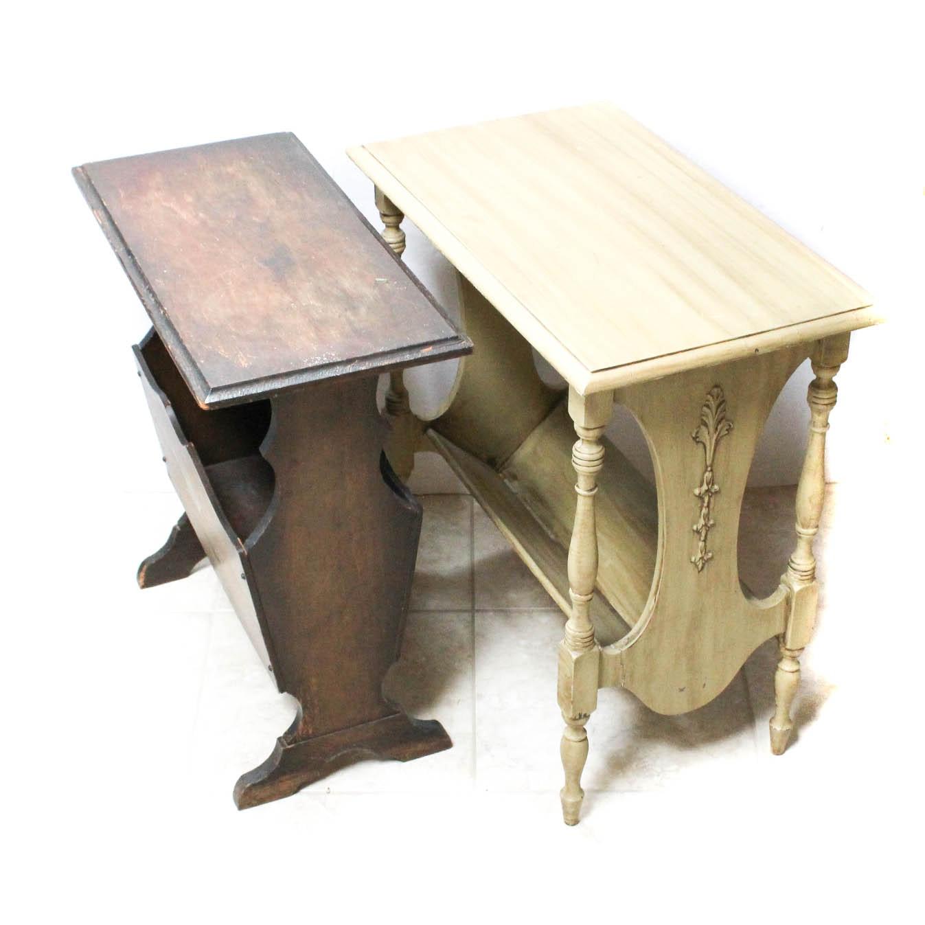Vintage Wooden Magazine Rack Side Tables