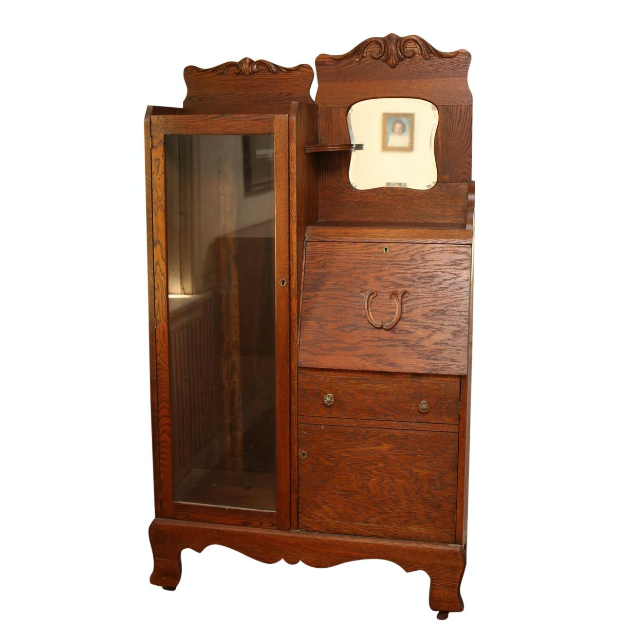 Vintage Oak Cabinet with Slant Desk