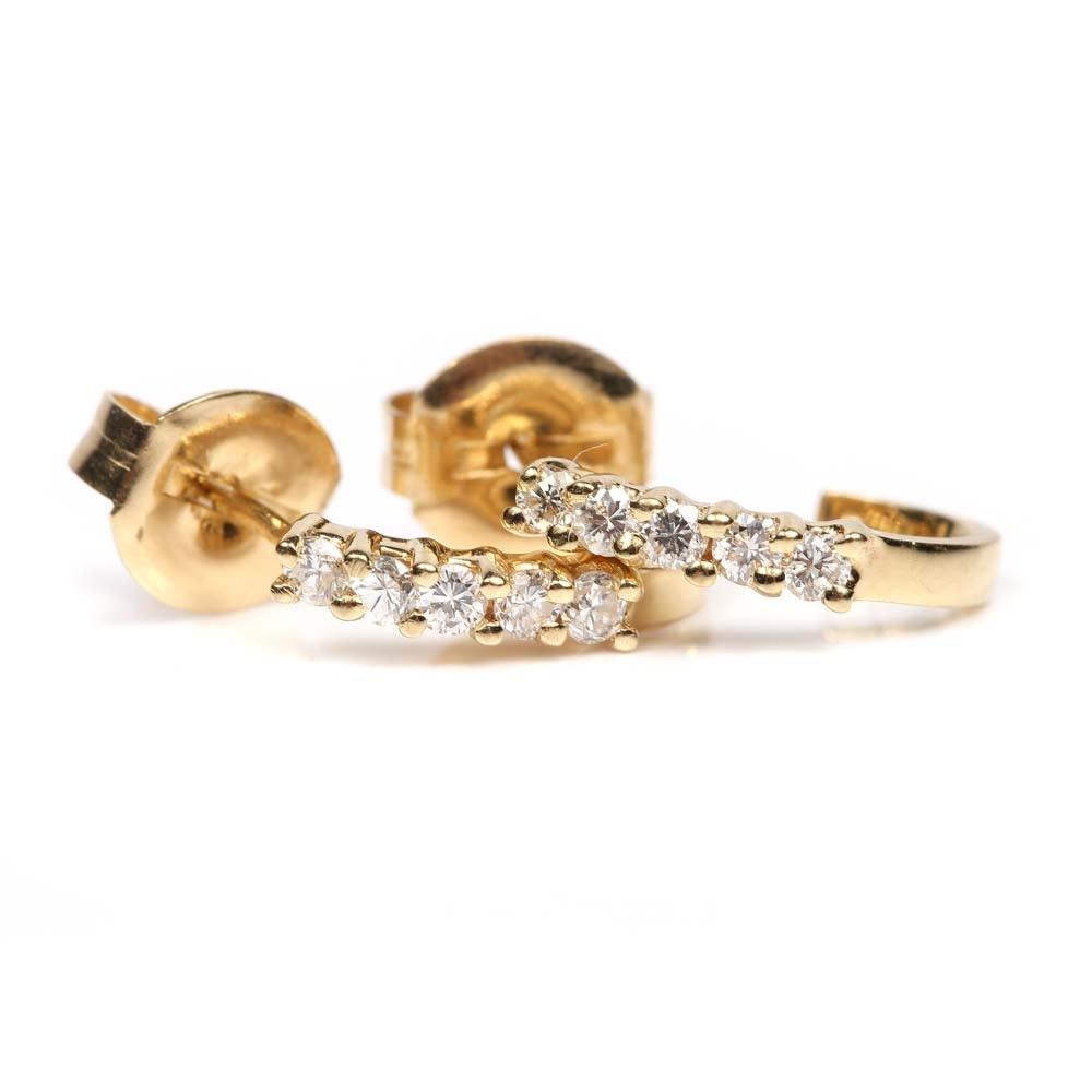 14K Gold Diamond Hoop Earrings