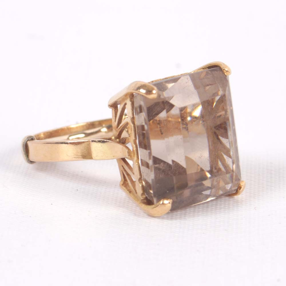 18K Yellow Gold 13.22 CT Smoky Quartz Ring