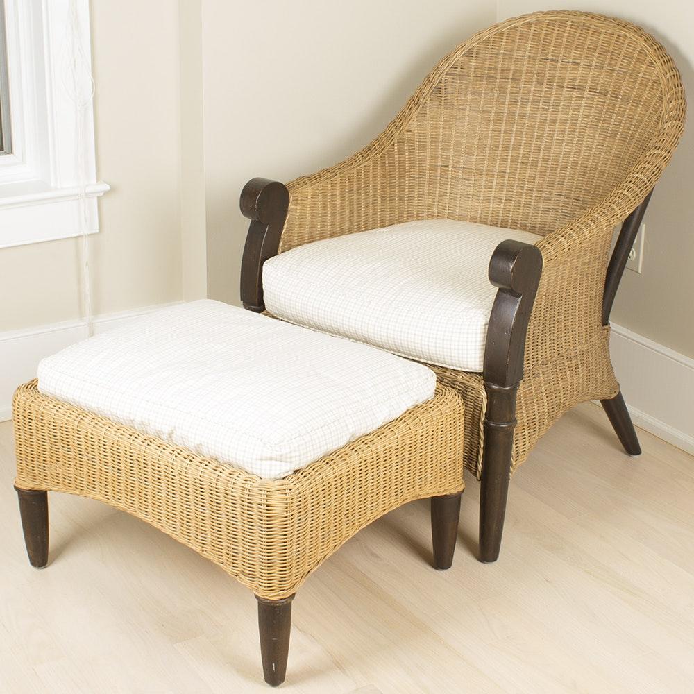 Regency Style Wicker Armchair and Ottoman