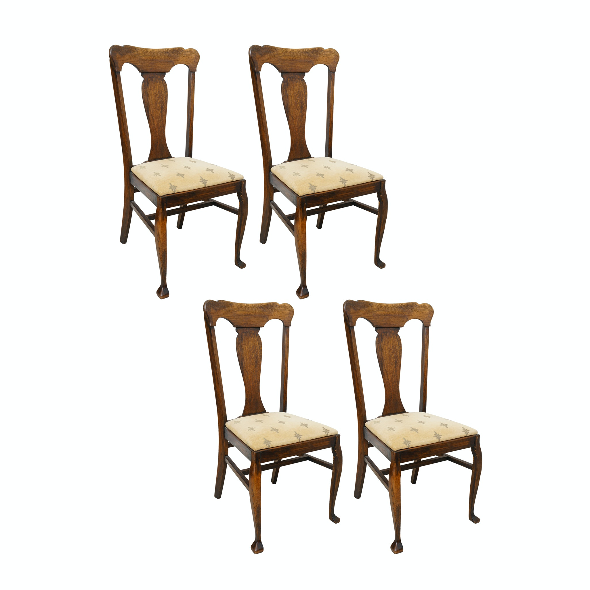 Vintage Queen Anne Style Oak Side Chairs