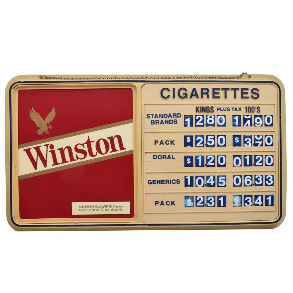 Vintige Wintson Cigarettes Pricing Sign