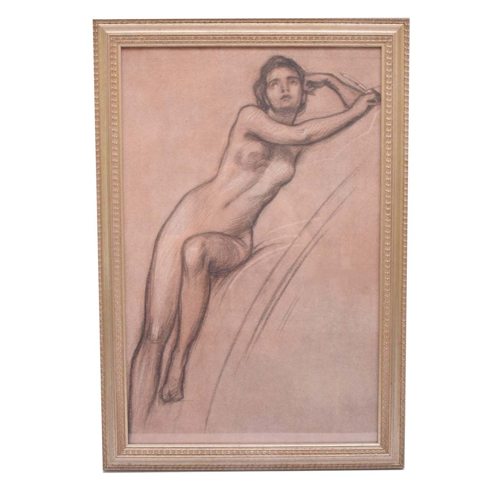 Framed Offset Lithograph Nude Woman