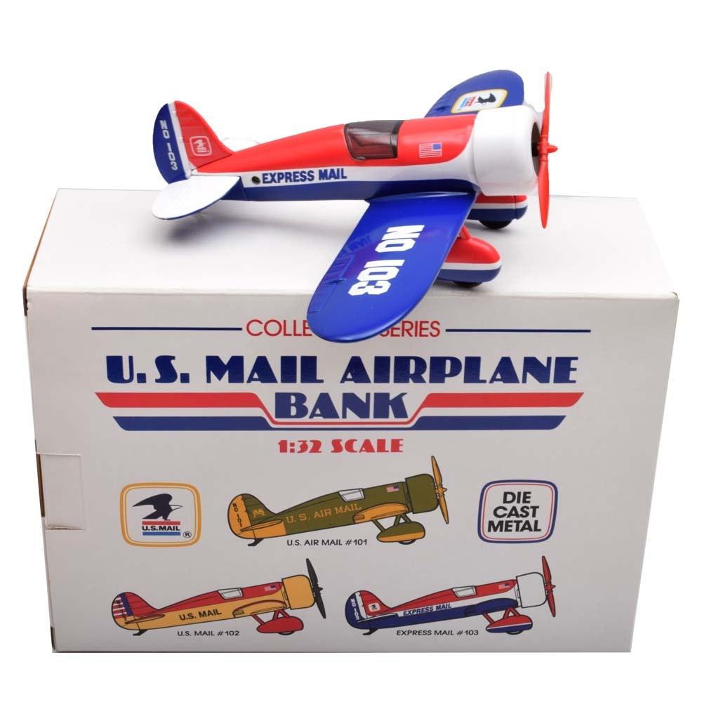 U.S. Mail Airplane Bank Die Cast Metal
