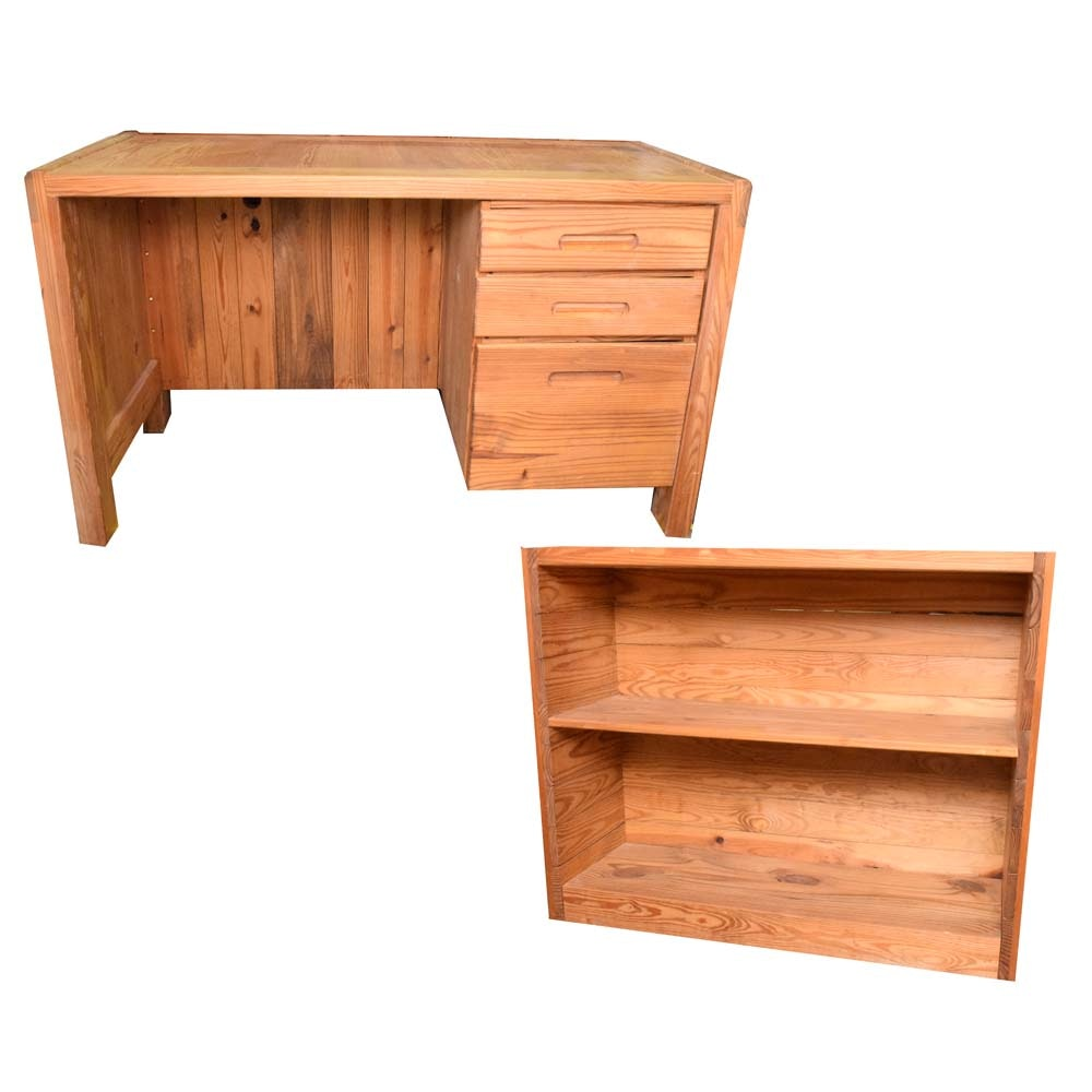 Pine Computer Desk And Matching Bookcase ...