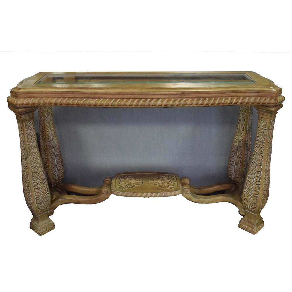 Traditional Sofa Table with Hand Carved Leaf