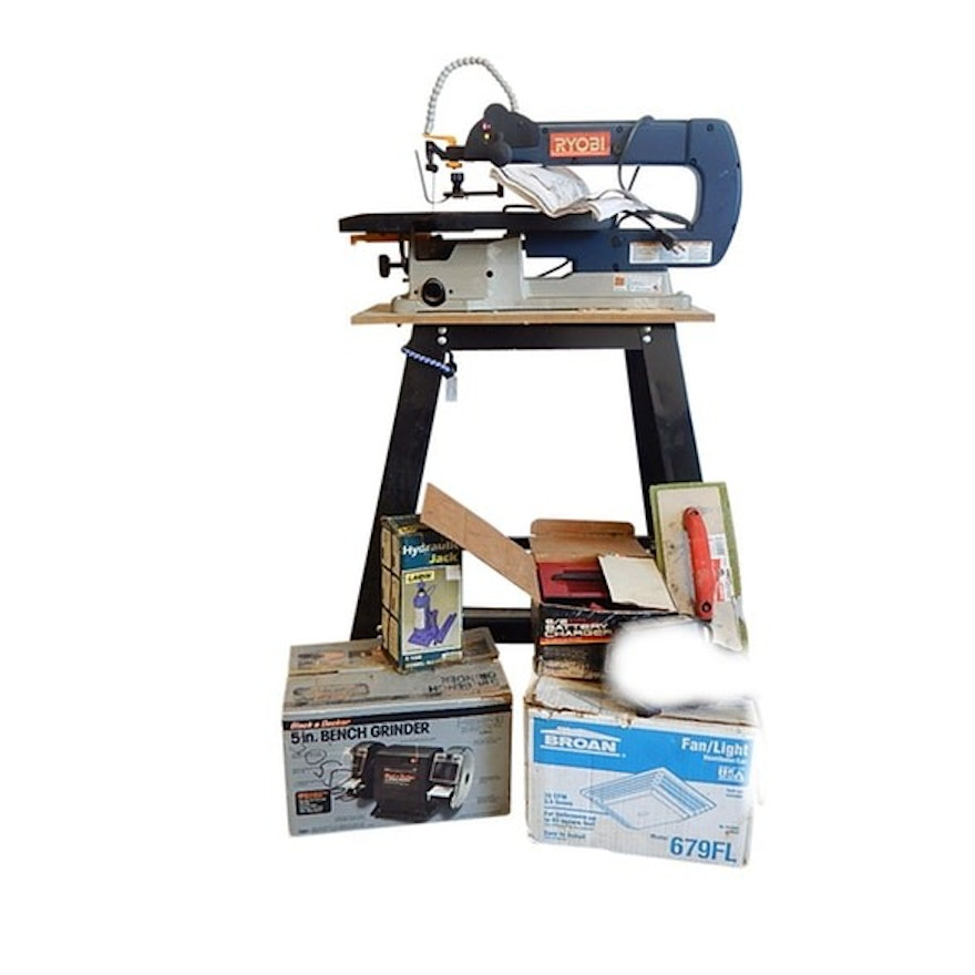Cool Tool Lot With Ryobi 18 Scroll Saw With Stand 5 Bench Grinder Fan Light More Squirreltailoven Fun Painted Chair Ideas Images Squirreltailovenorg