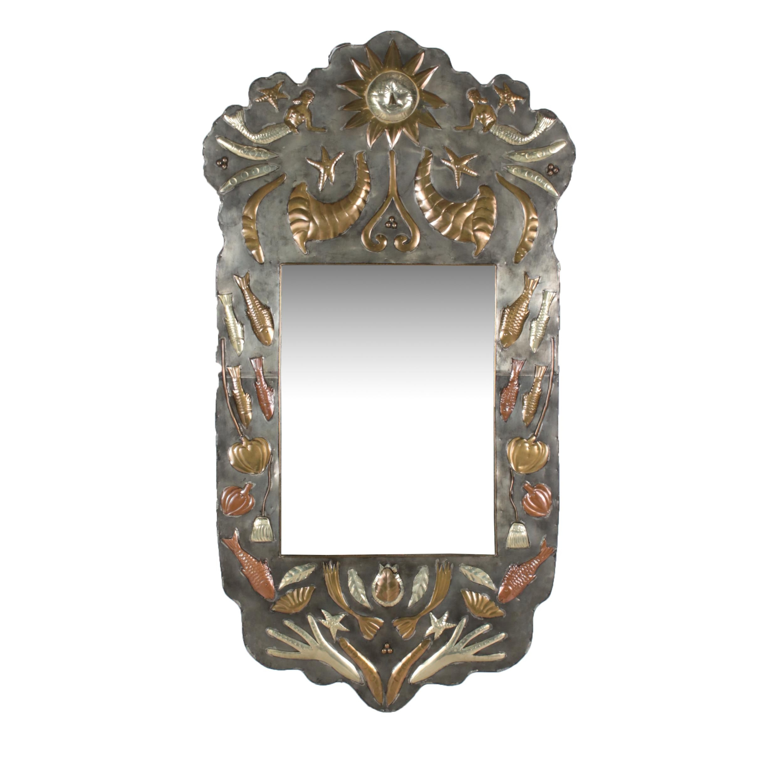Vintage Mexican Metal Overlay Wall Mirror