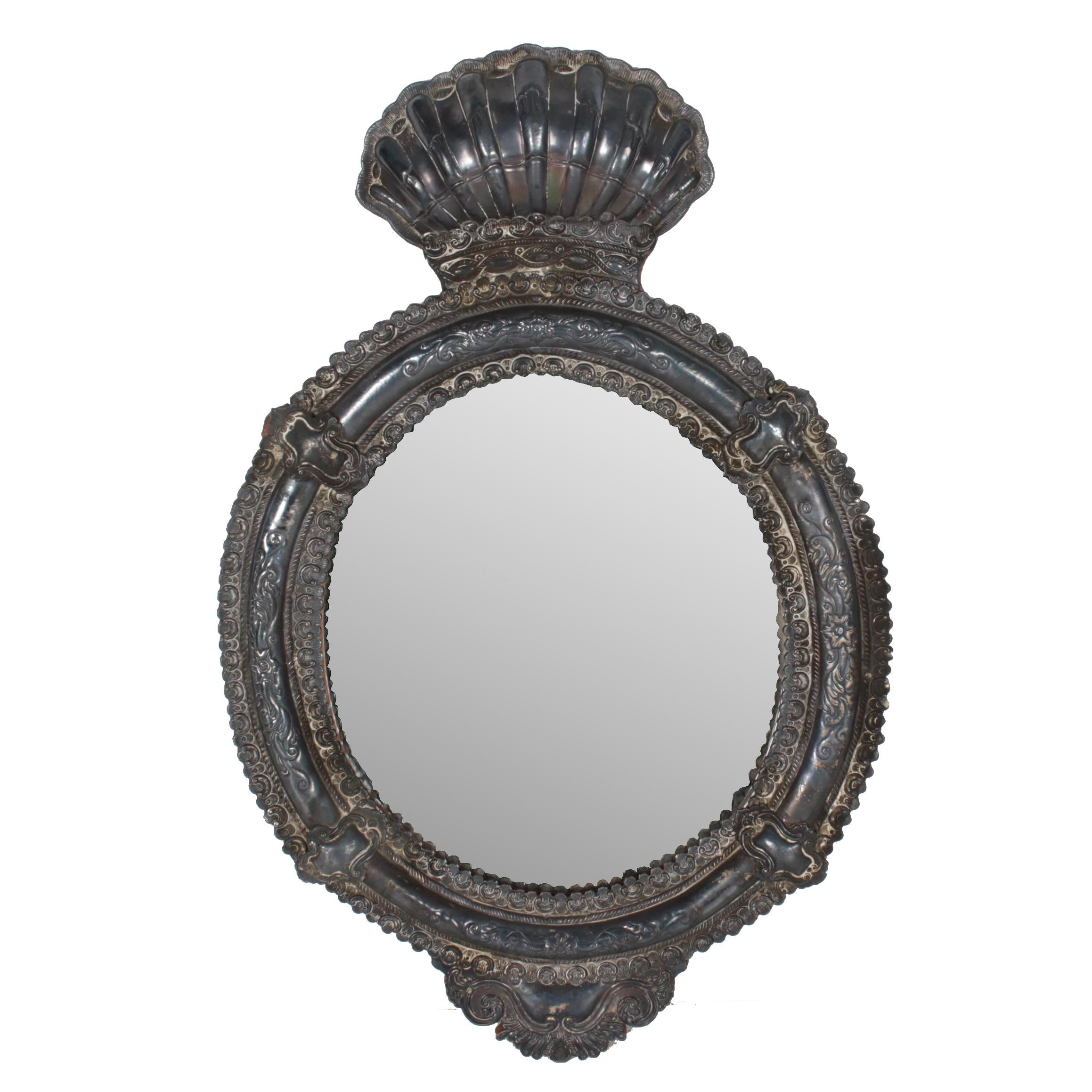 Spanish Style Silver Plate Oval Wall Mirror Frame