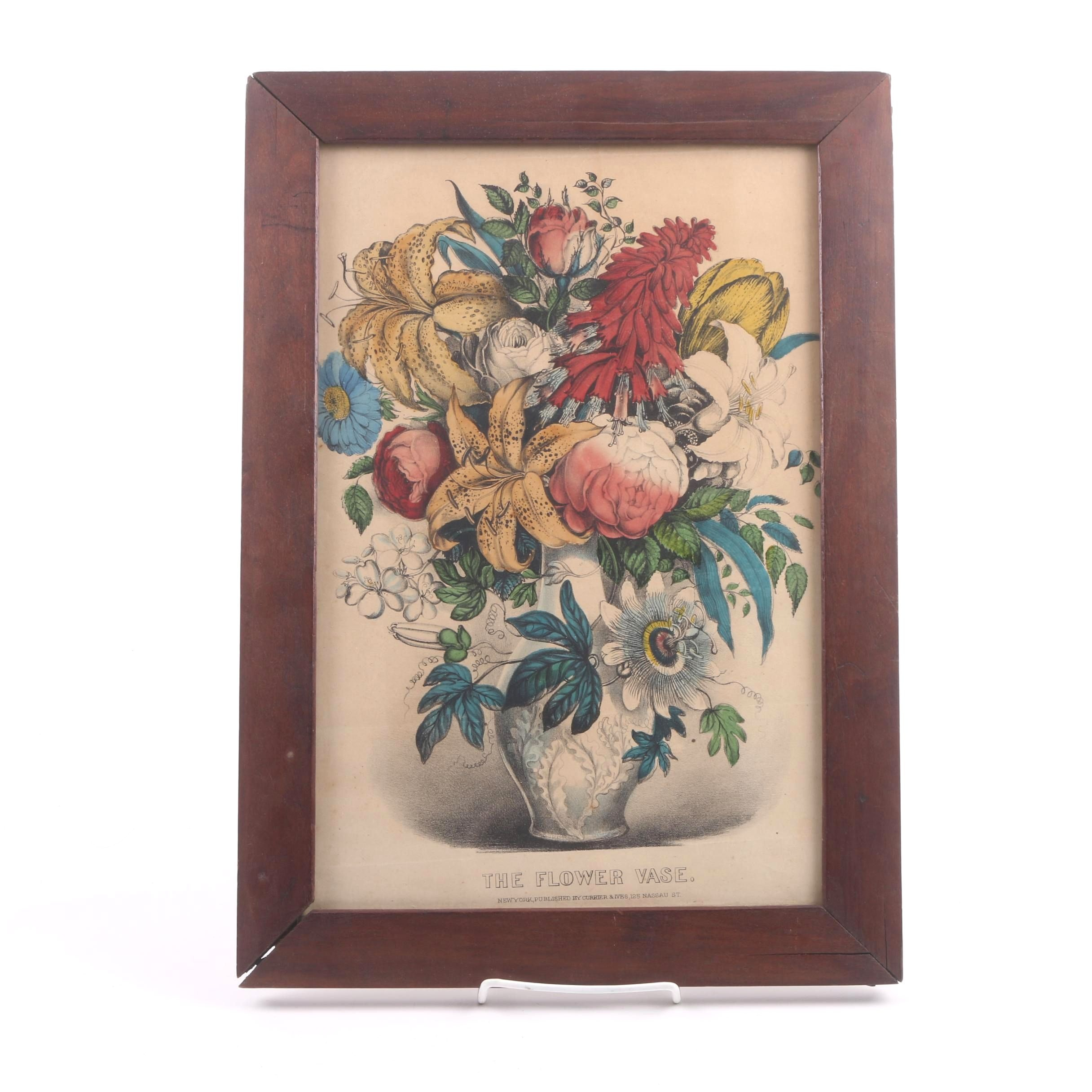 "Currier & Ives Hand Colored Lithograph ""The Flower Vase"""