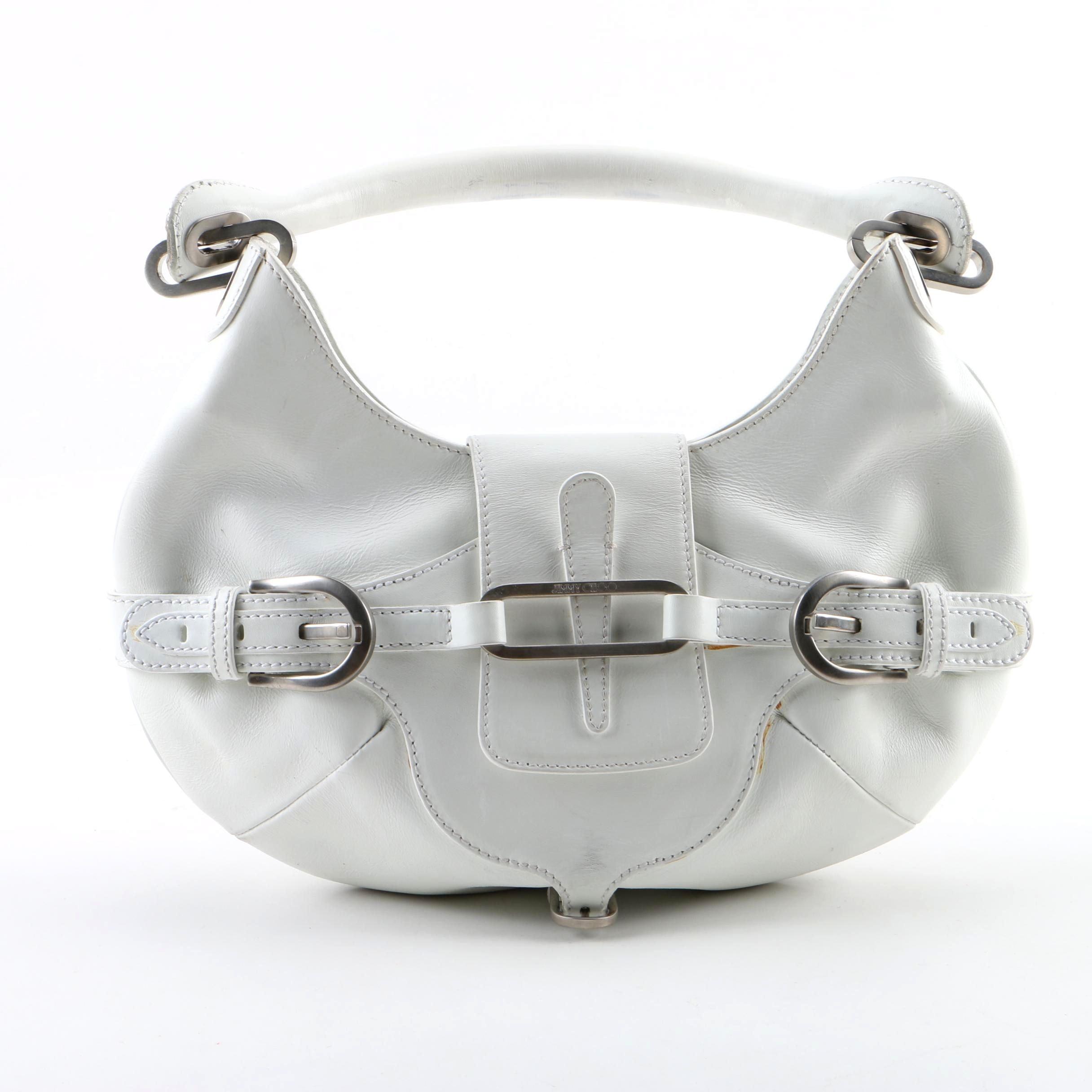 Jimmy Choo White Leather Small Tulita Hobo Bag