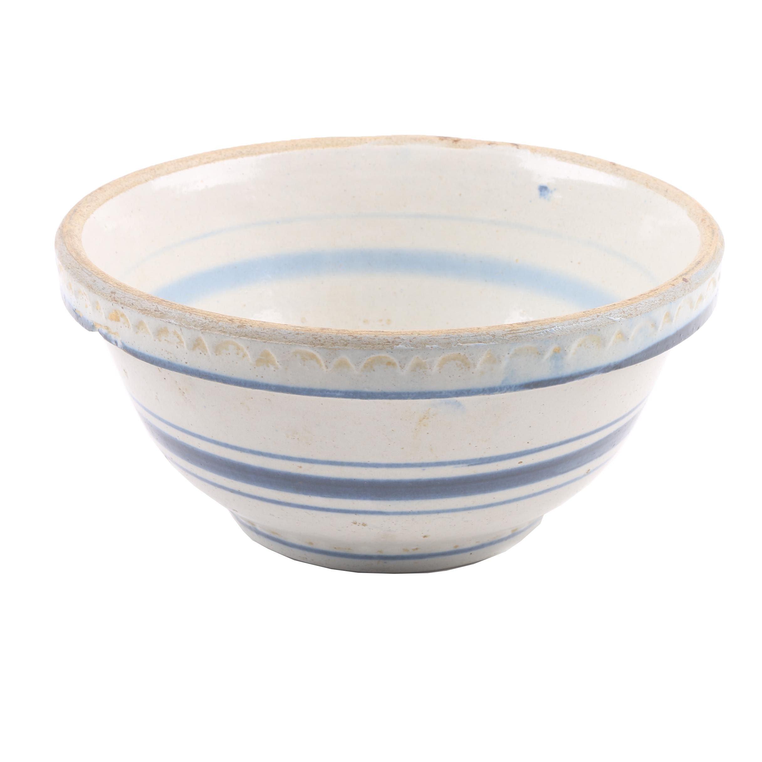Vintage Blue and White Striped Salt Glazed Stoneware Mixing Bowl