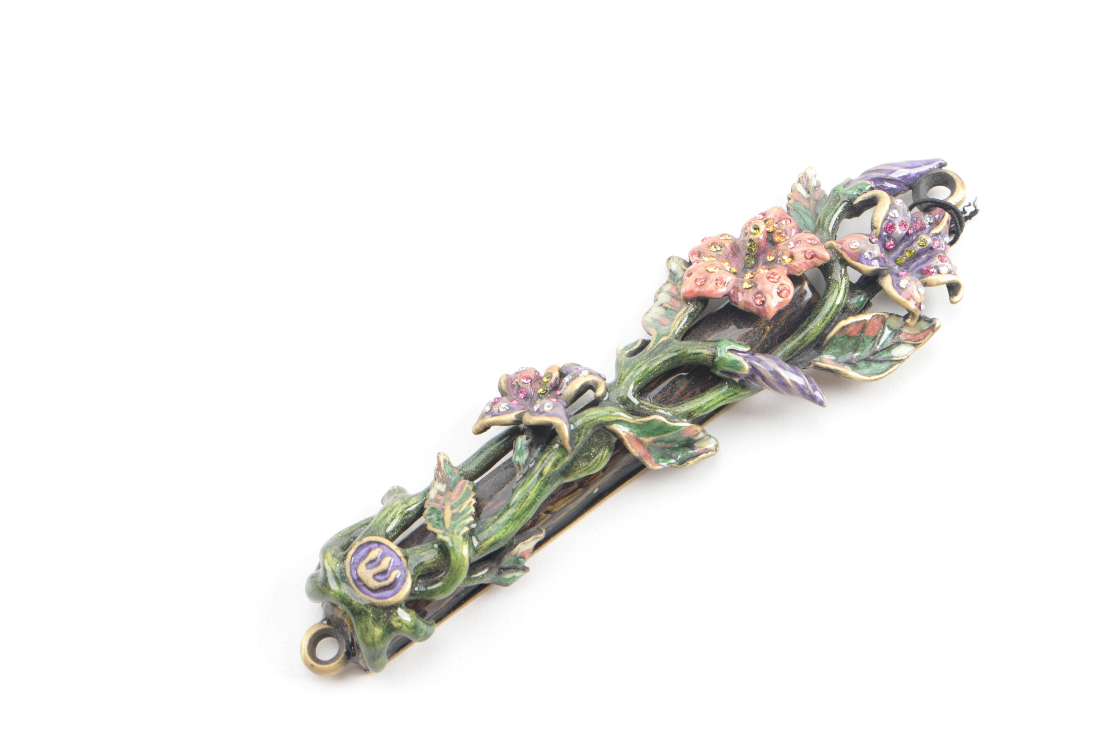 Jay Strongwater Floral Vine Mezuzah with Crystal and Enamel Accents