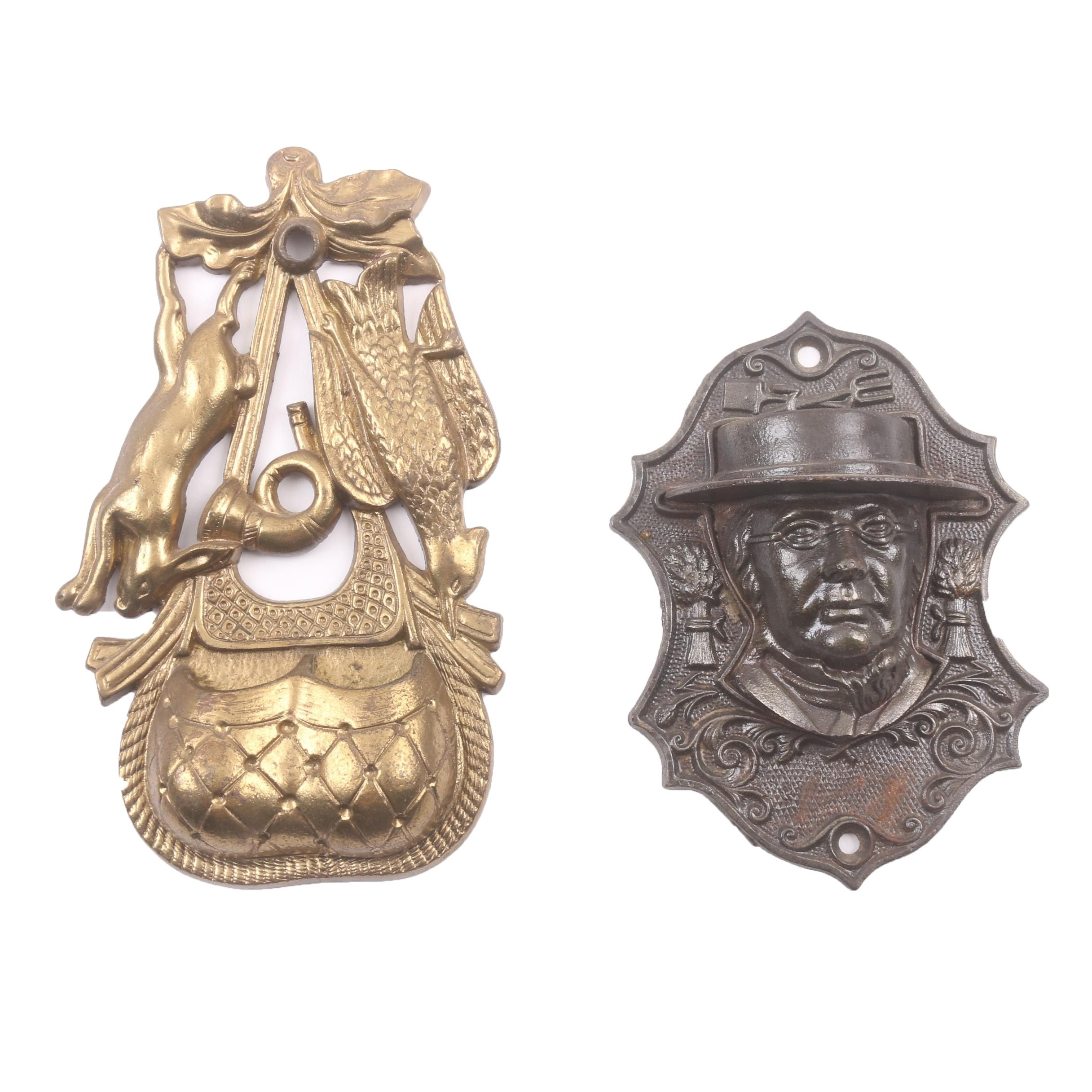 Cast Brass and Cast Iron Wall Hanging Match Holders