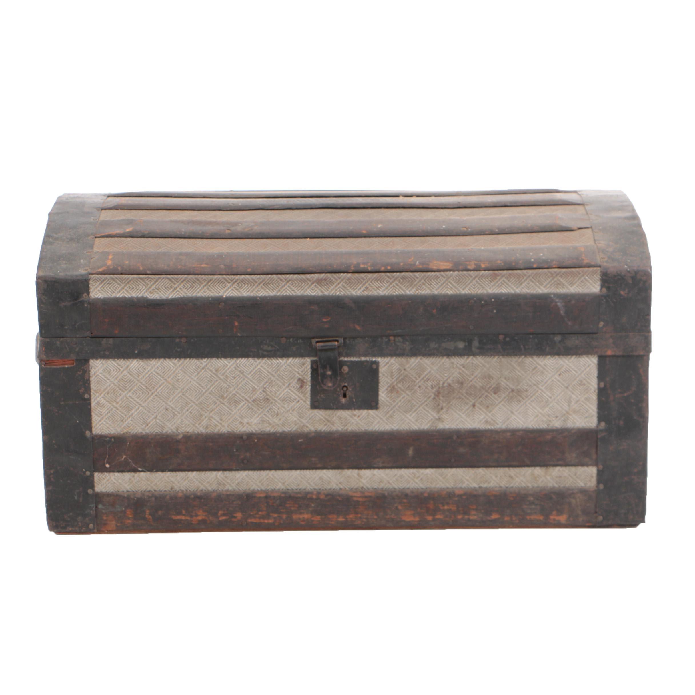 Antique Roll-Top Steamer Trunk