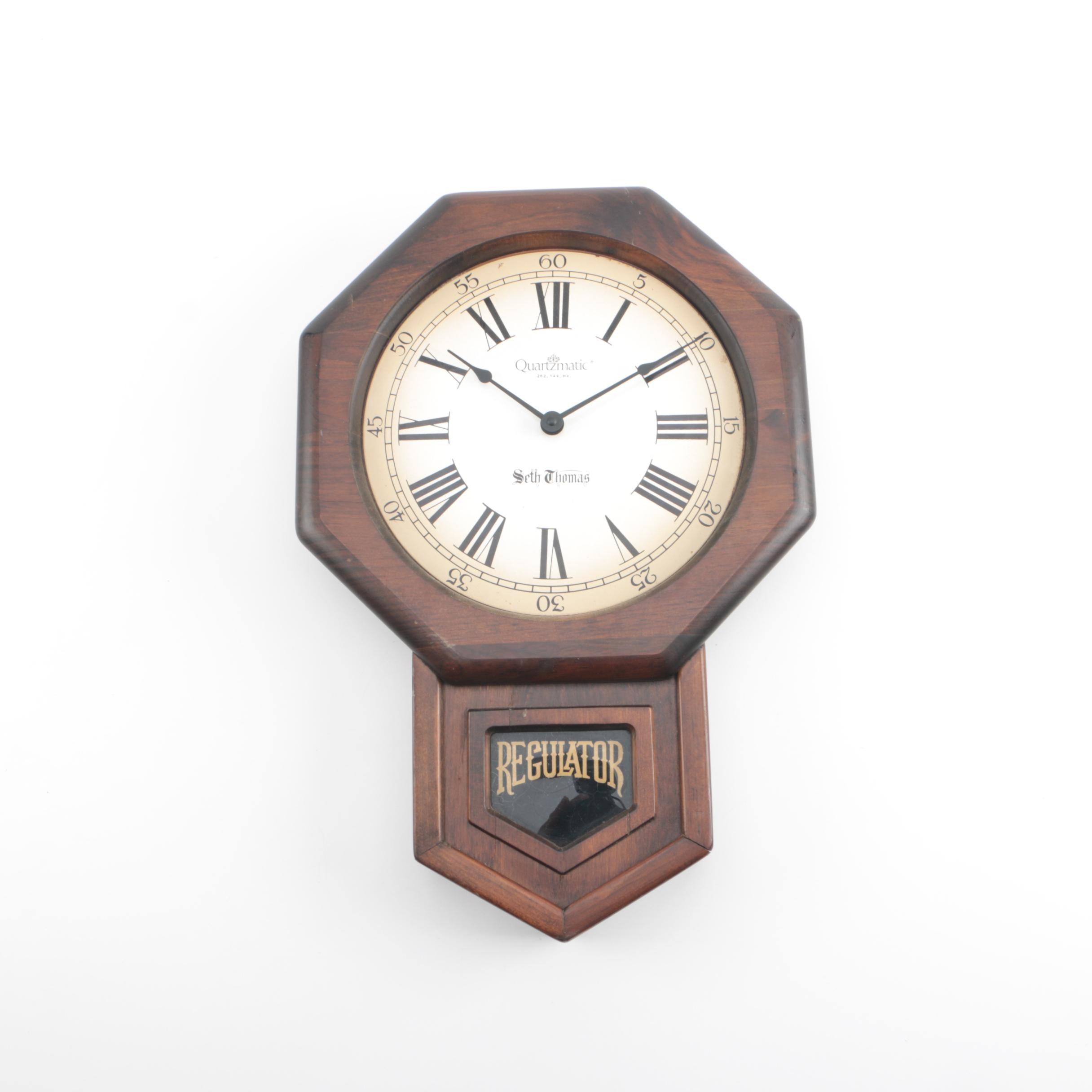 "1970s Seth Thomas ""Legends"" Regulator Wall Clock"