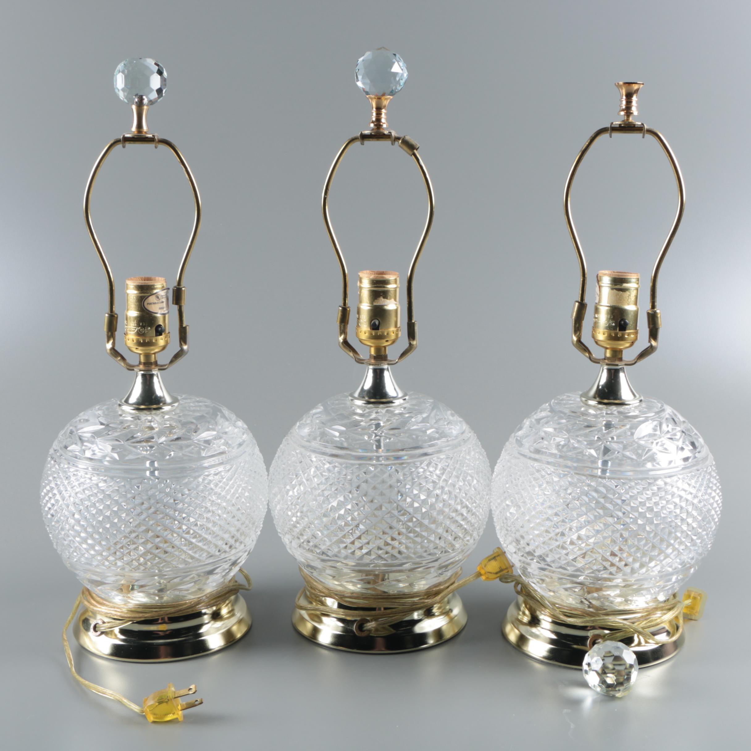 Crystal Clear Polish Lead Crystal Ball Table Lamps Ebth