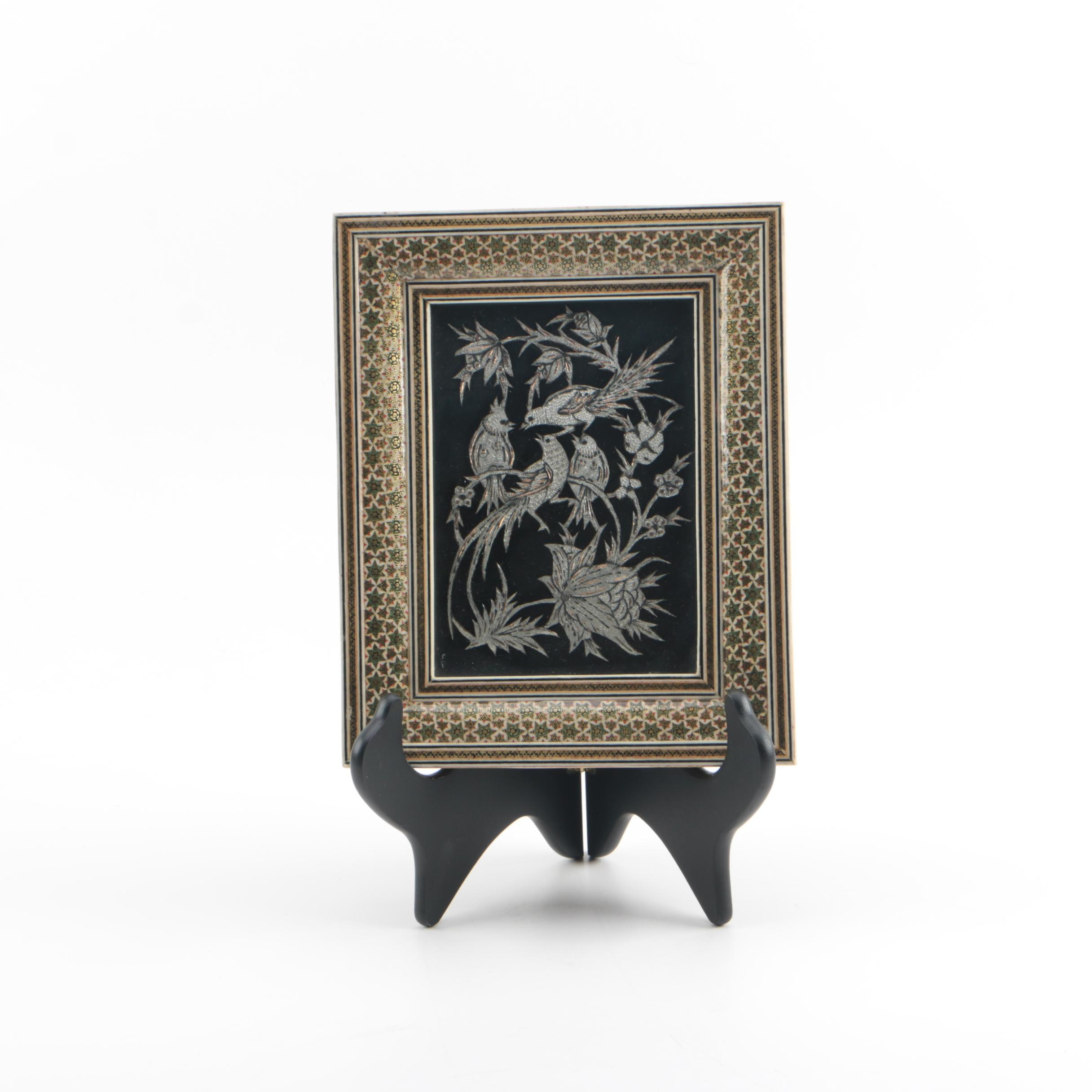 Indo-Persian Artwork of Birds In Ornate Inlaid Frame