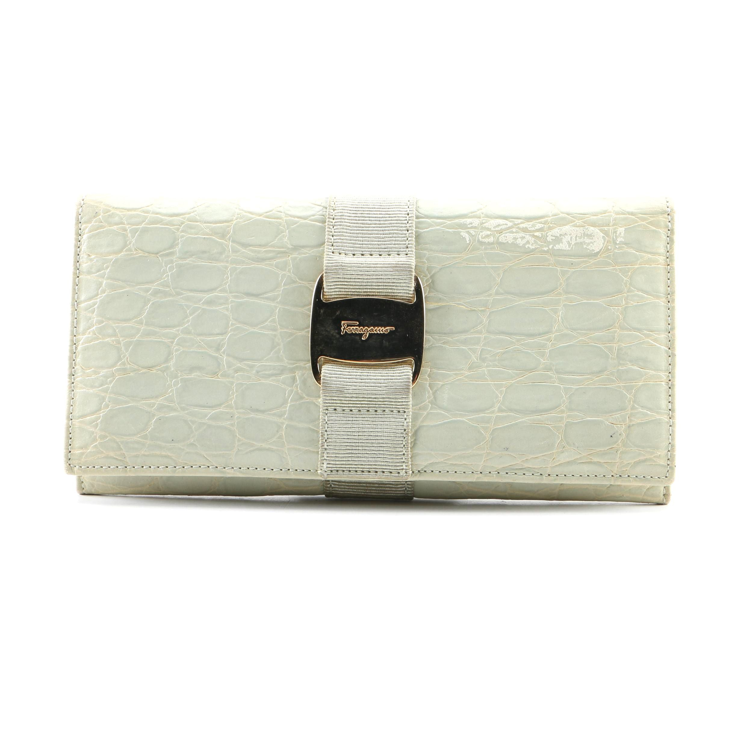 Vintage Salvatore Ferragamo Embossed Light Green Leather Wallet