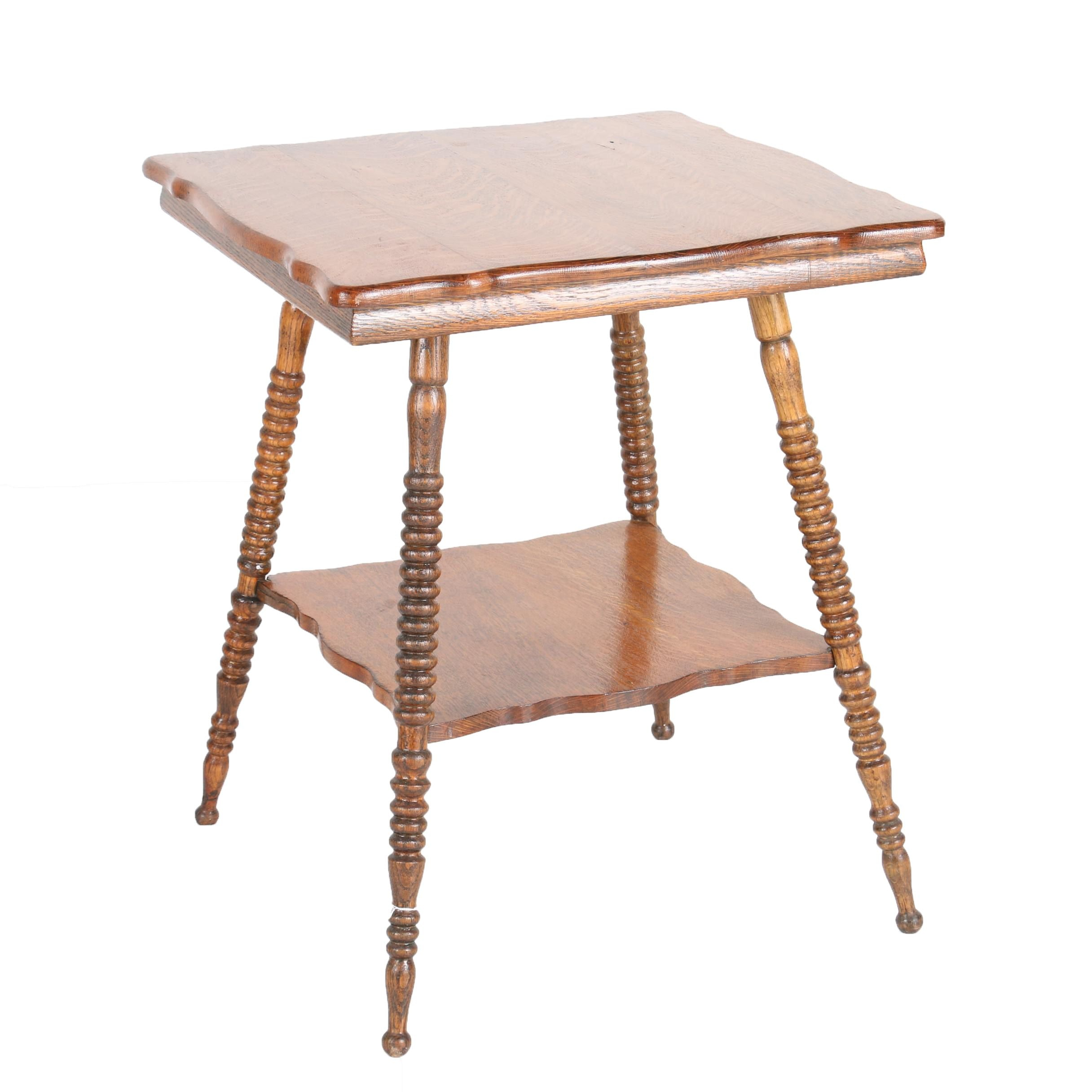 Vintage Victorian Style Oak Lamp Table