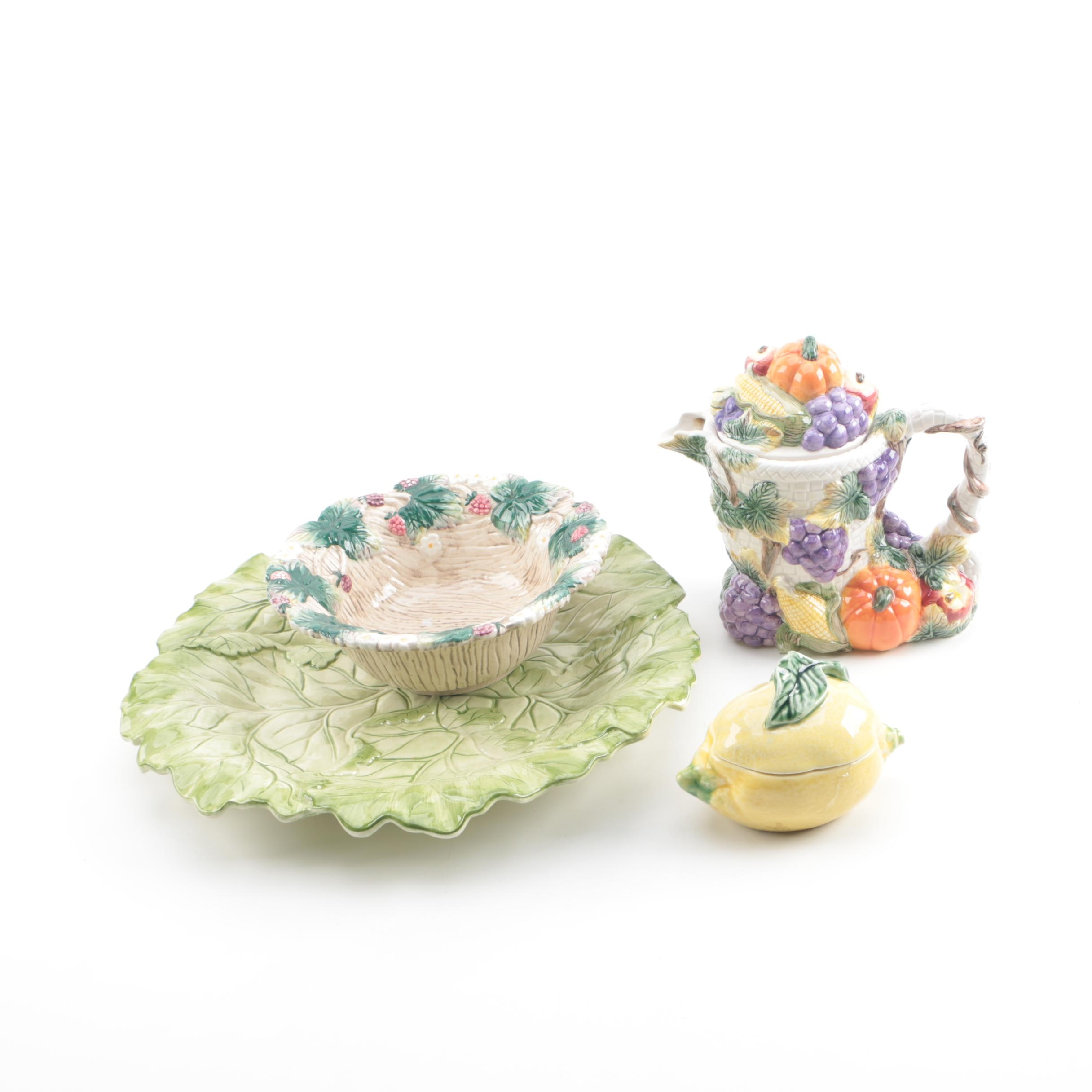 Fruit and Vegetable Themed Serveware by Fitz and Floyd and Bordallo Pinneiro