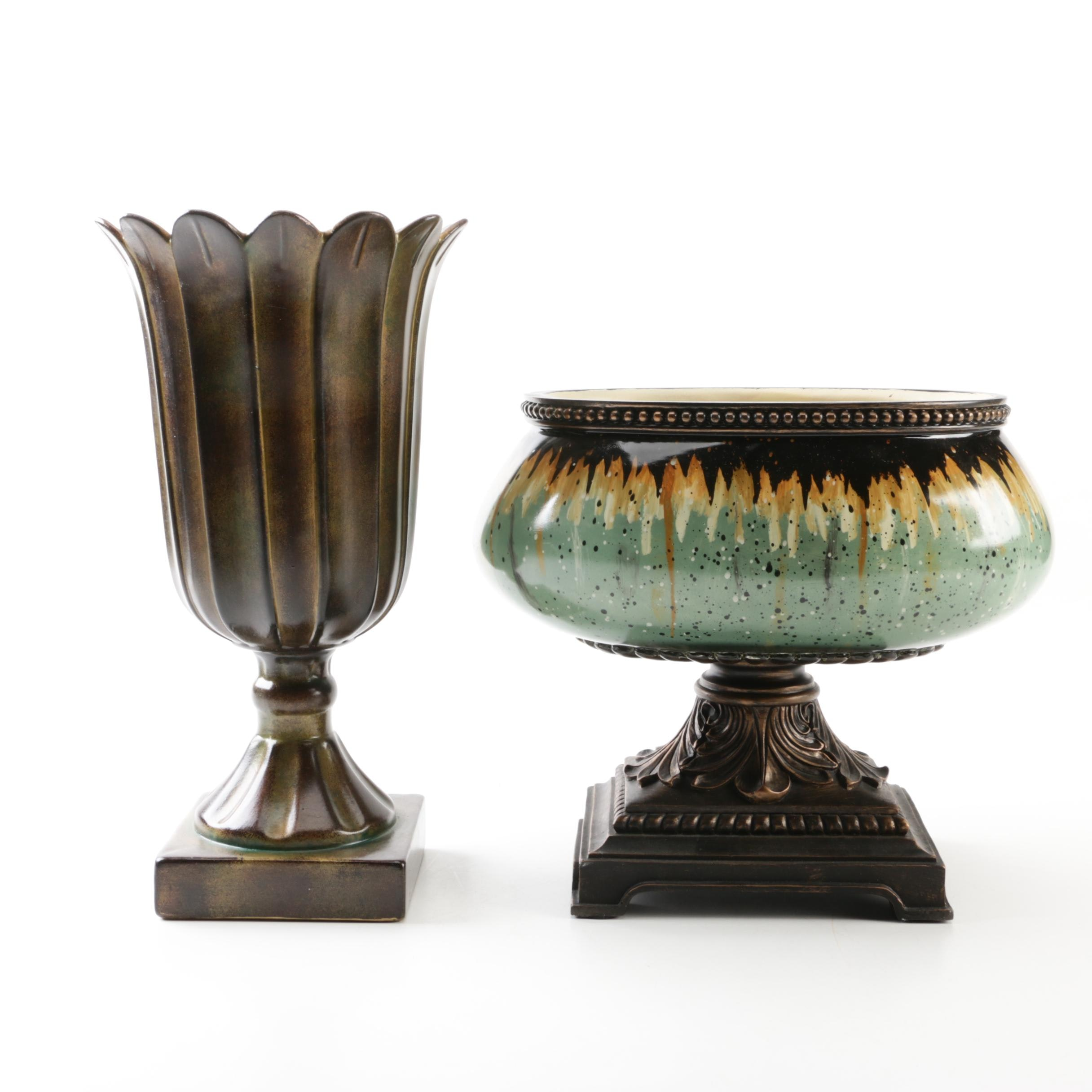 Contemporary Pedestal Vase and Hand-Painted Planter