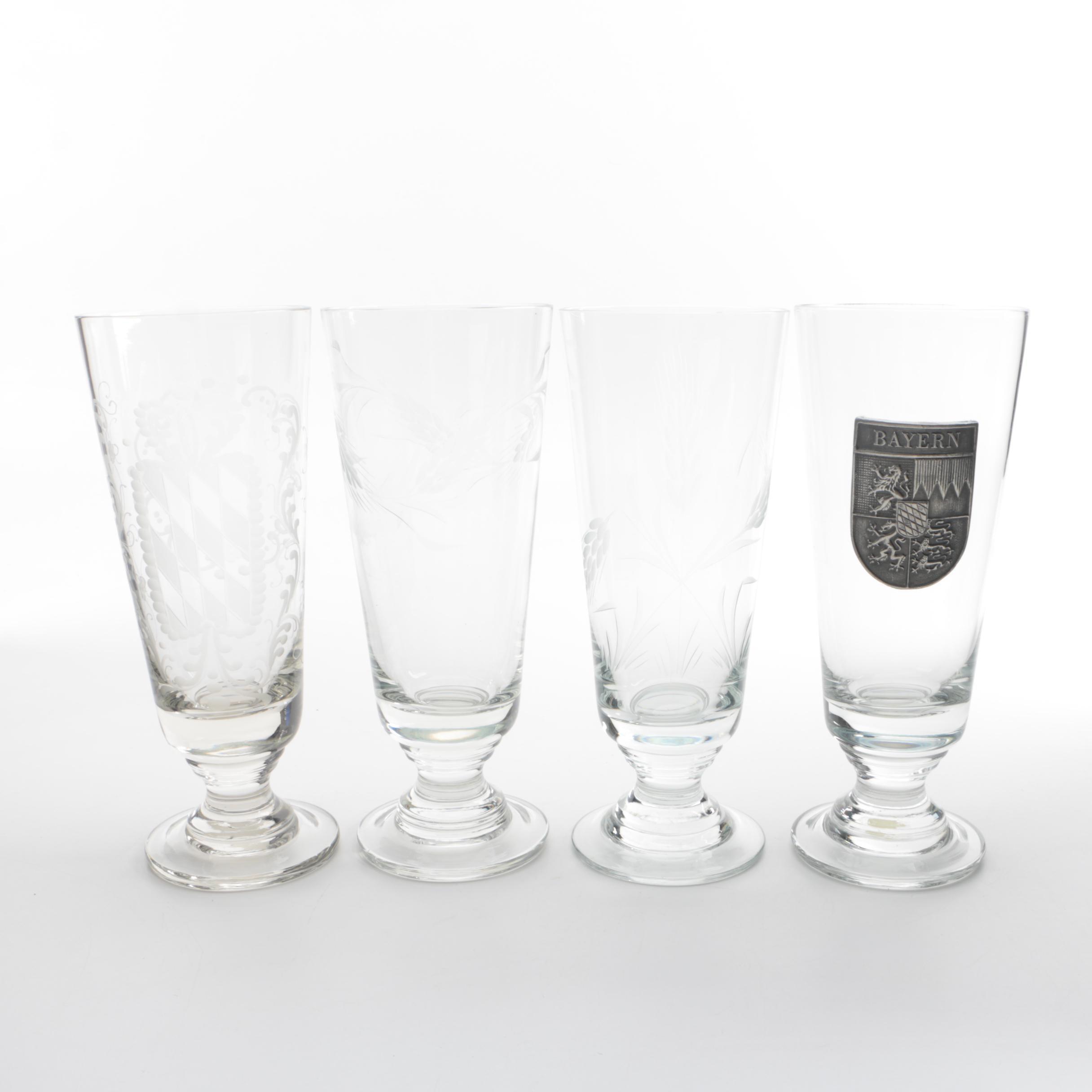 Bavarian Etched Pilsner Glasses Including Geschenke-Kaiser