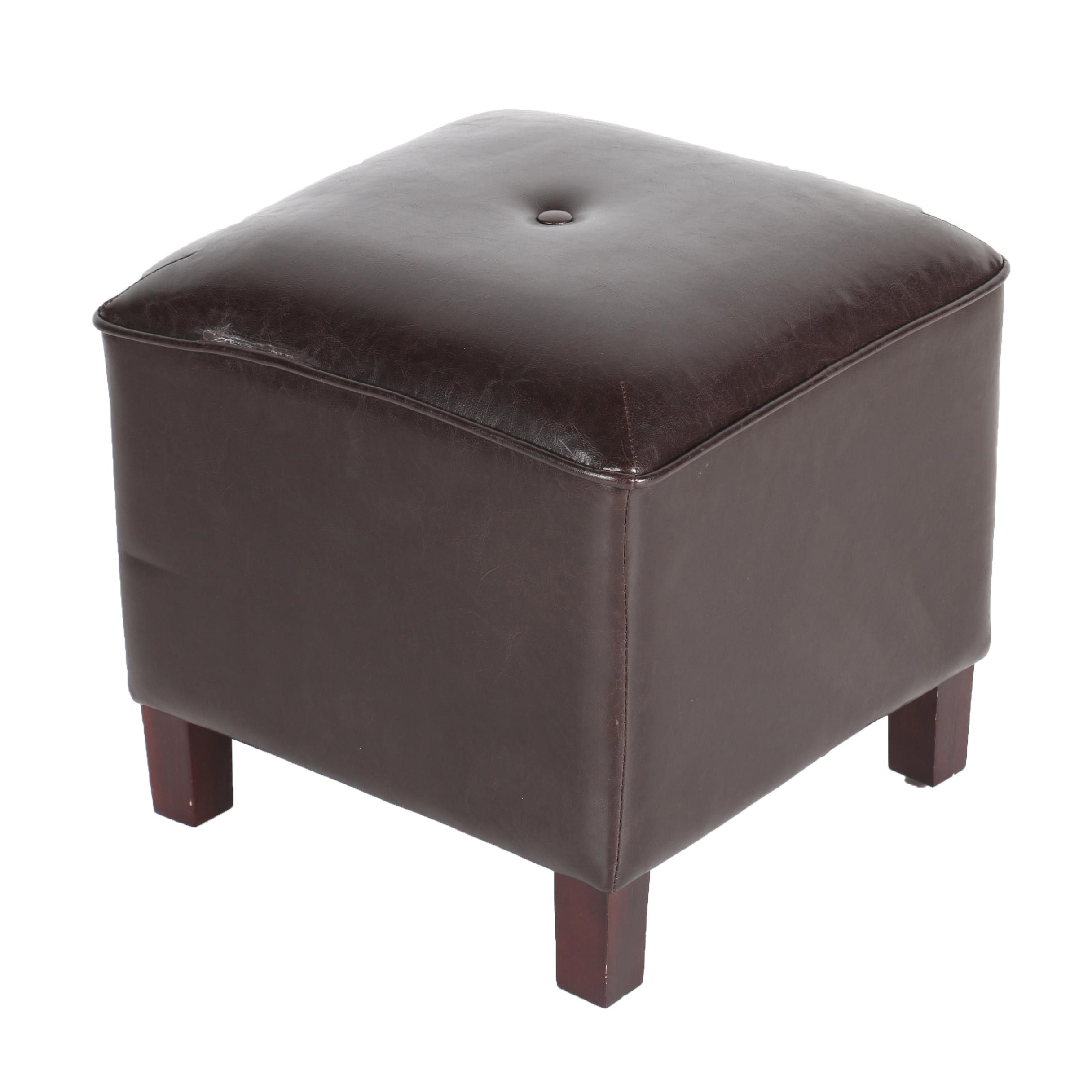 Faux Leather Tufted Footstool/ Ottoman