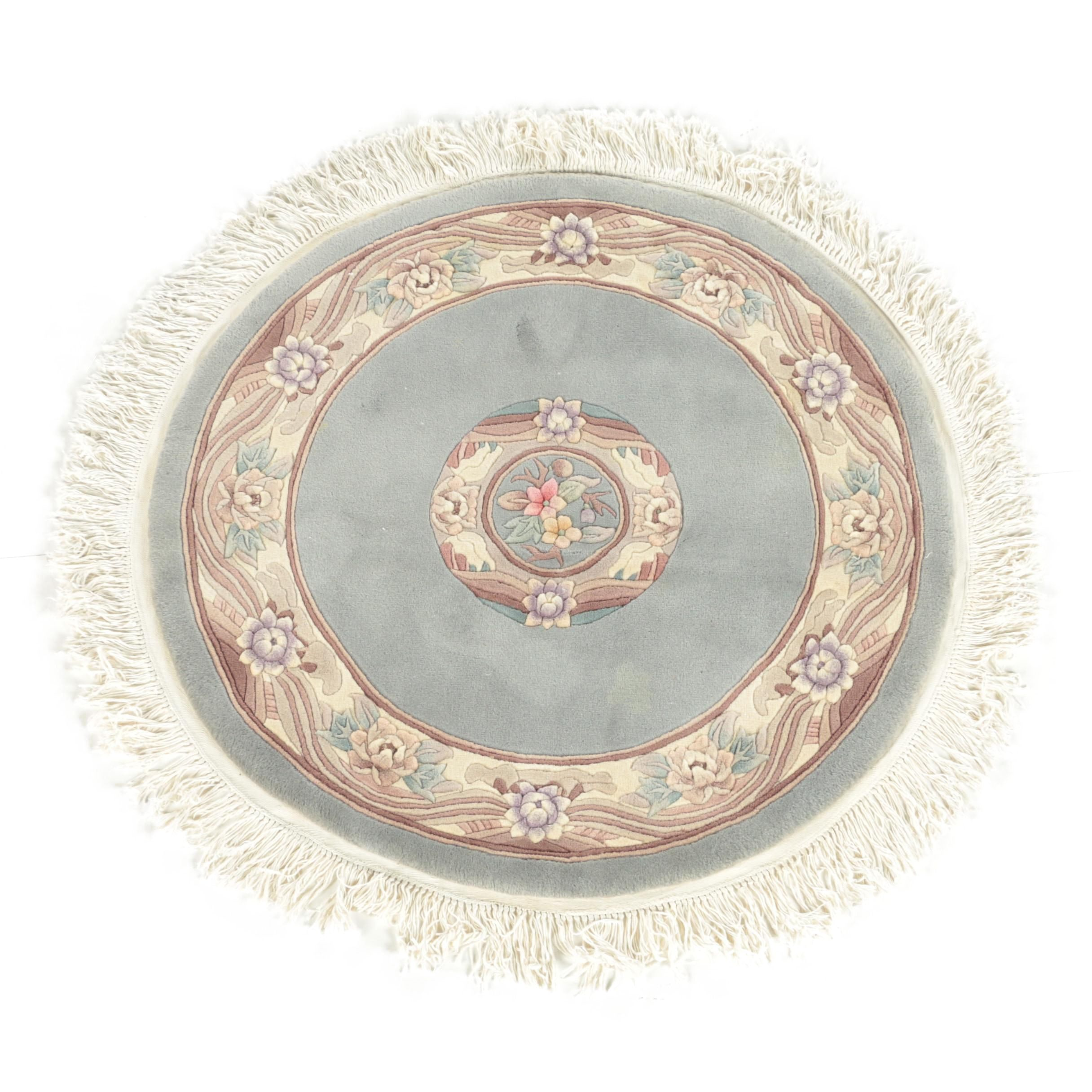 Hand-Knotted Chinese Floral Carved Round Wool Area Rug