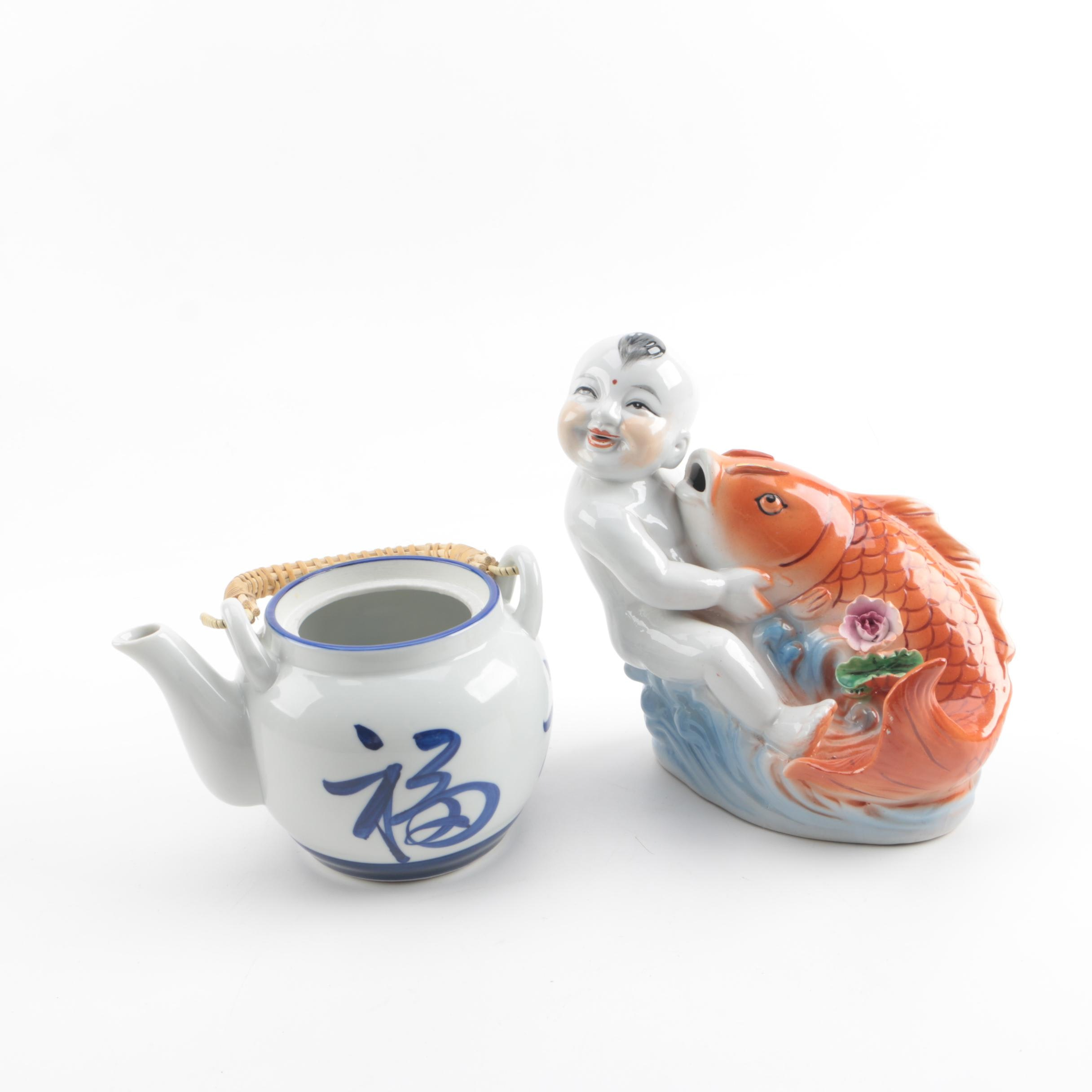 Chinese Inspired Ceramic Boy and Fish Figurine with Japanese Teapot