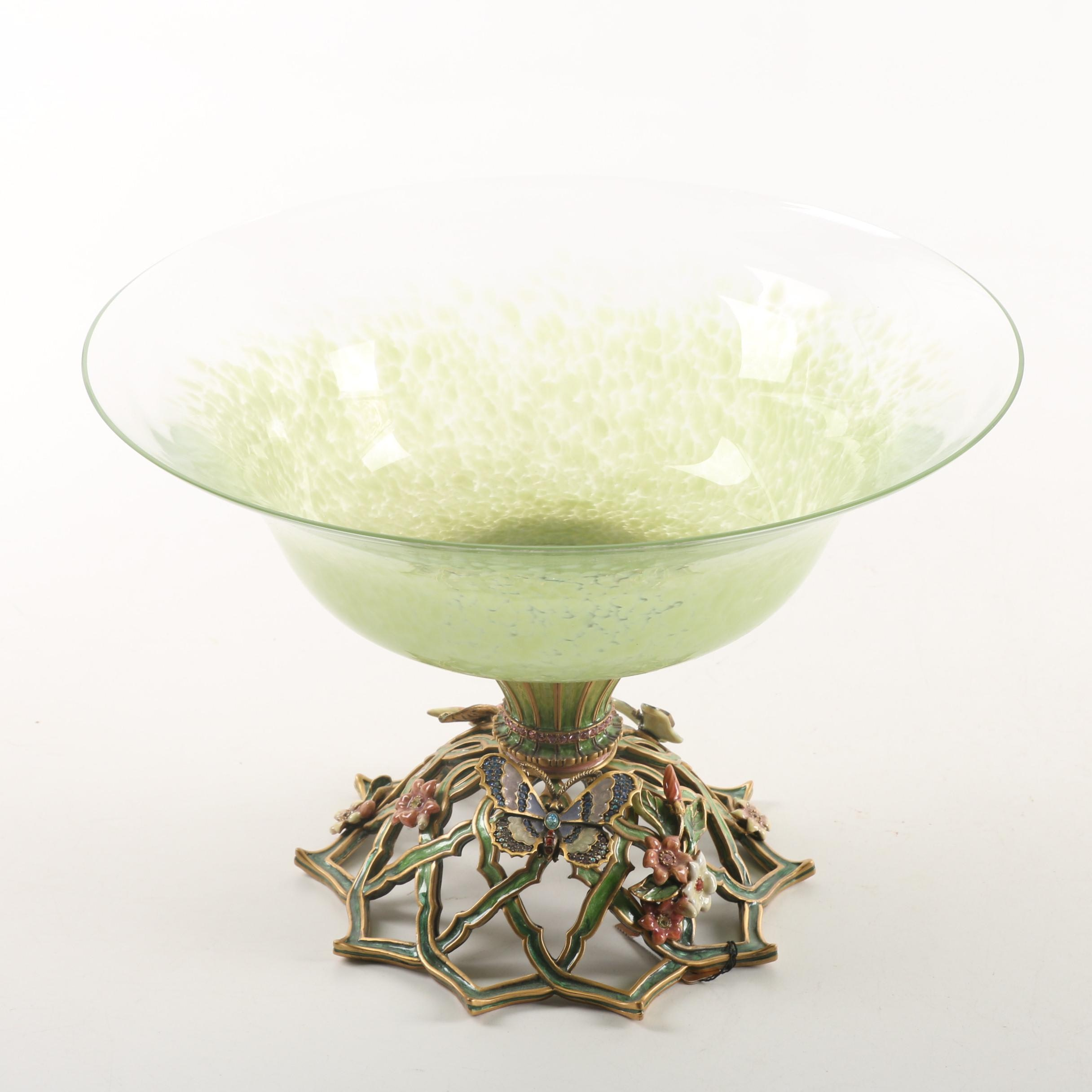 Jay Strongwater Magnolia Butterfly Pedestal Bowl